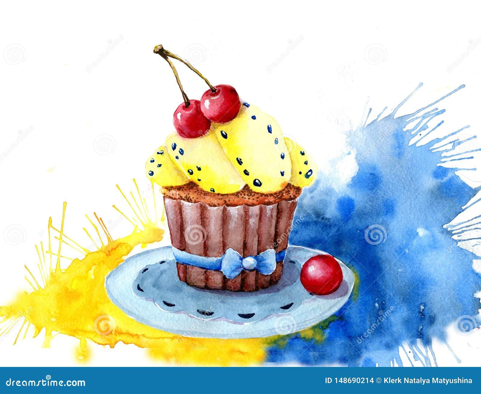 水彩蛋糕充满奶油和樱桃 ?? 易使用为各种各样的菜单设计,广告,咖啡馆