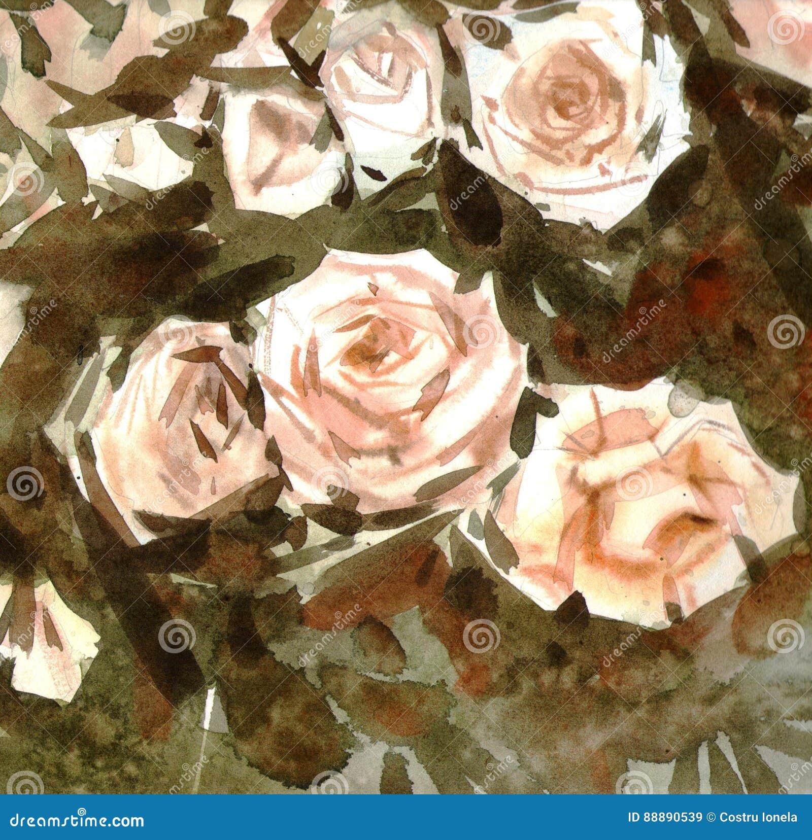 水彩裸体玫瑰背景