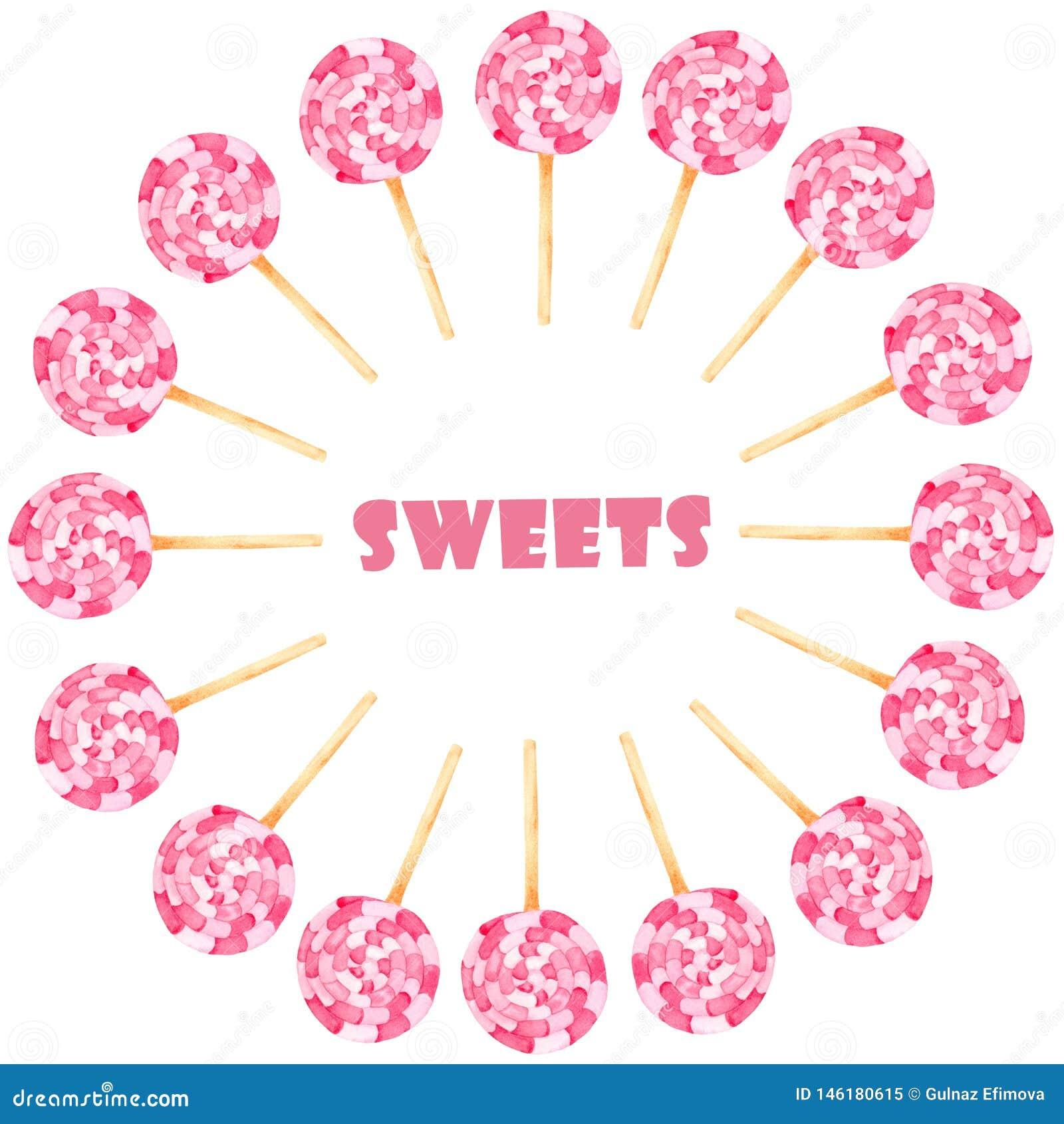 水彩设置与桃红色甜点