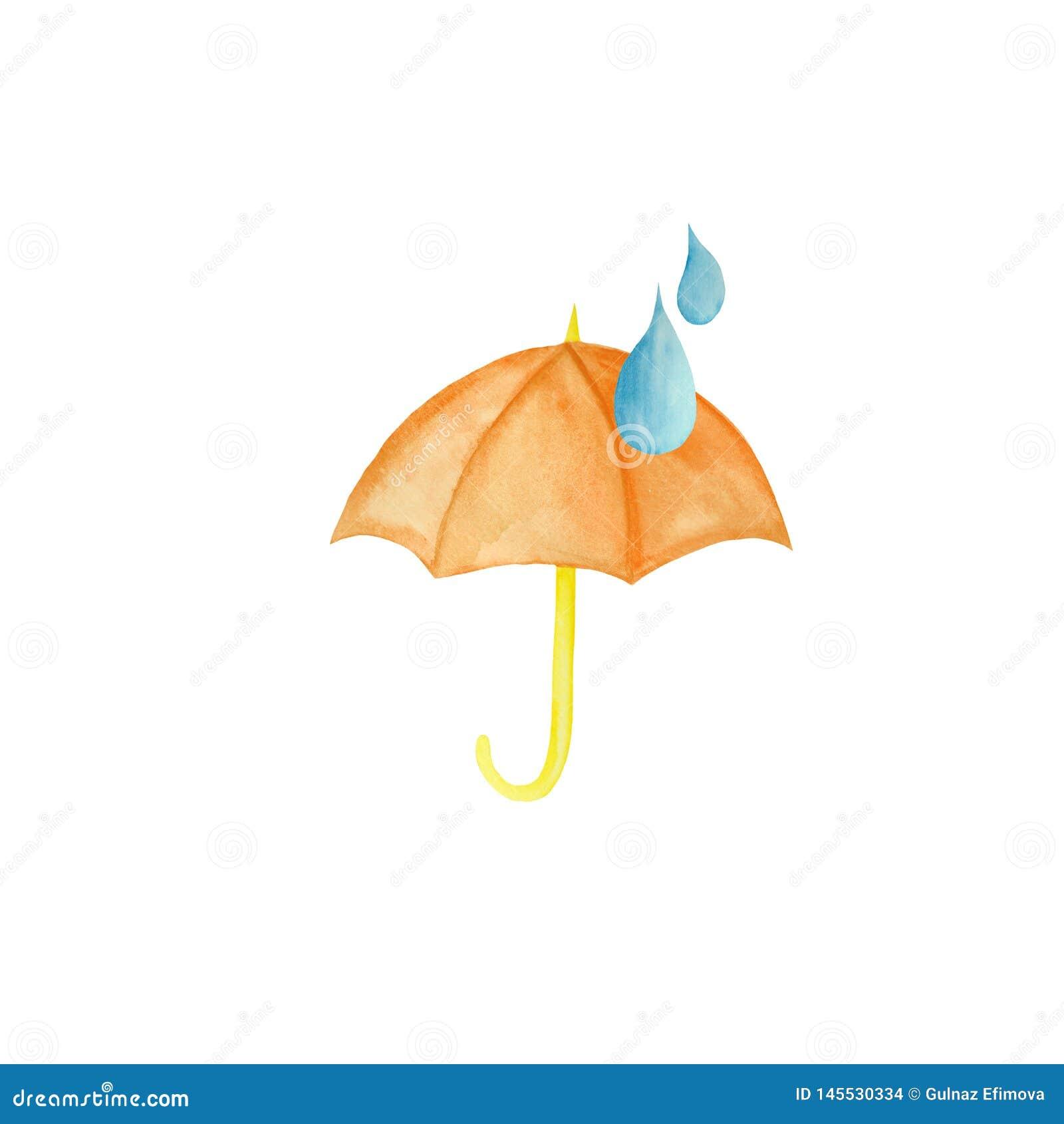 水彩设置与黄色雨,伞,彩虹,雨珠
