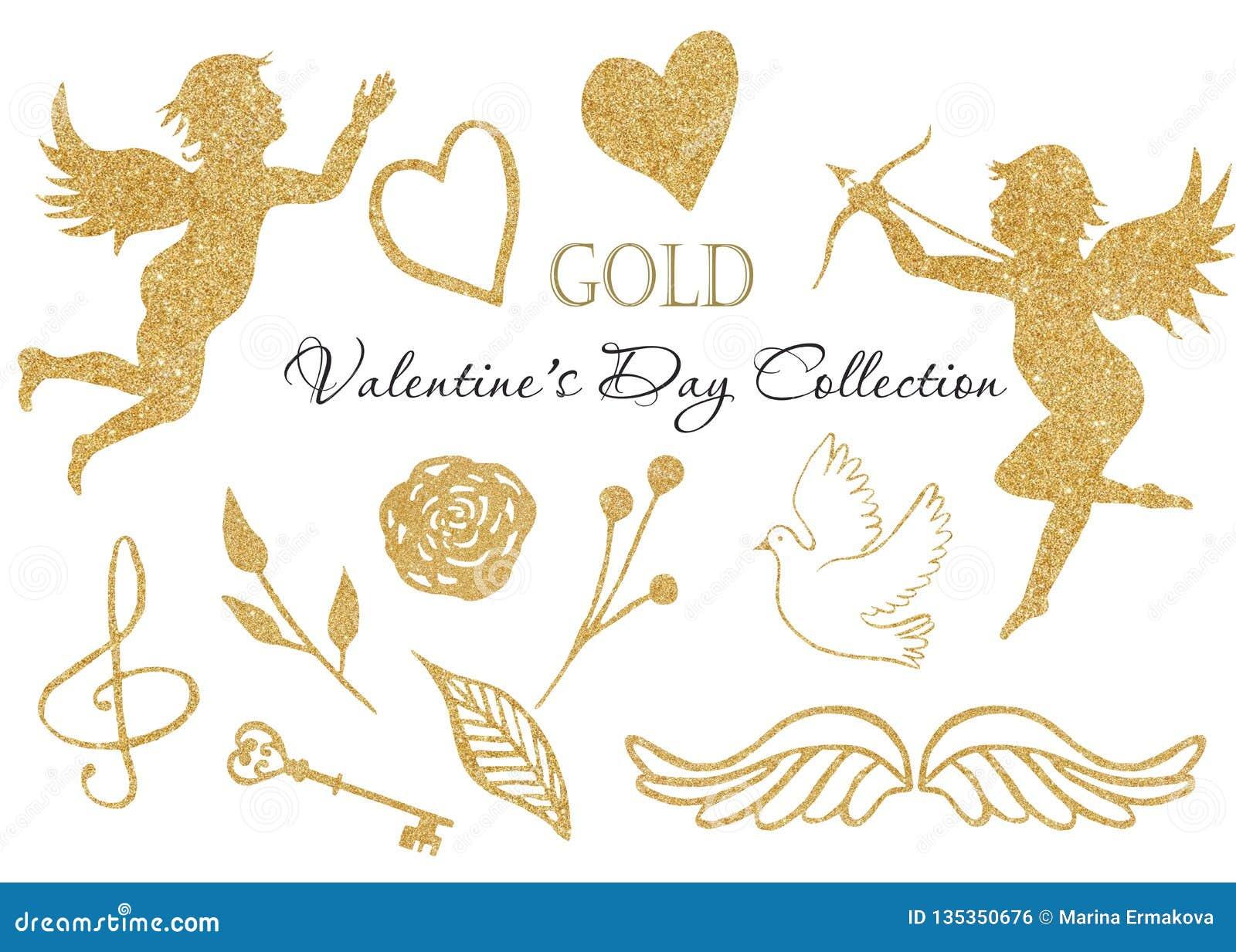 水彩金黄天使,心脏,鸠,翼,高音谱号,贿赂