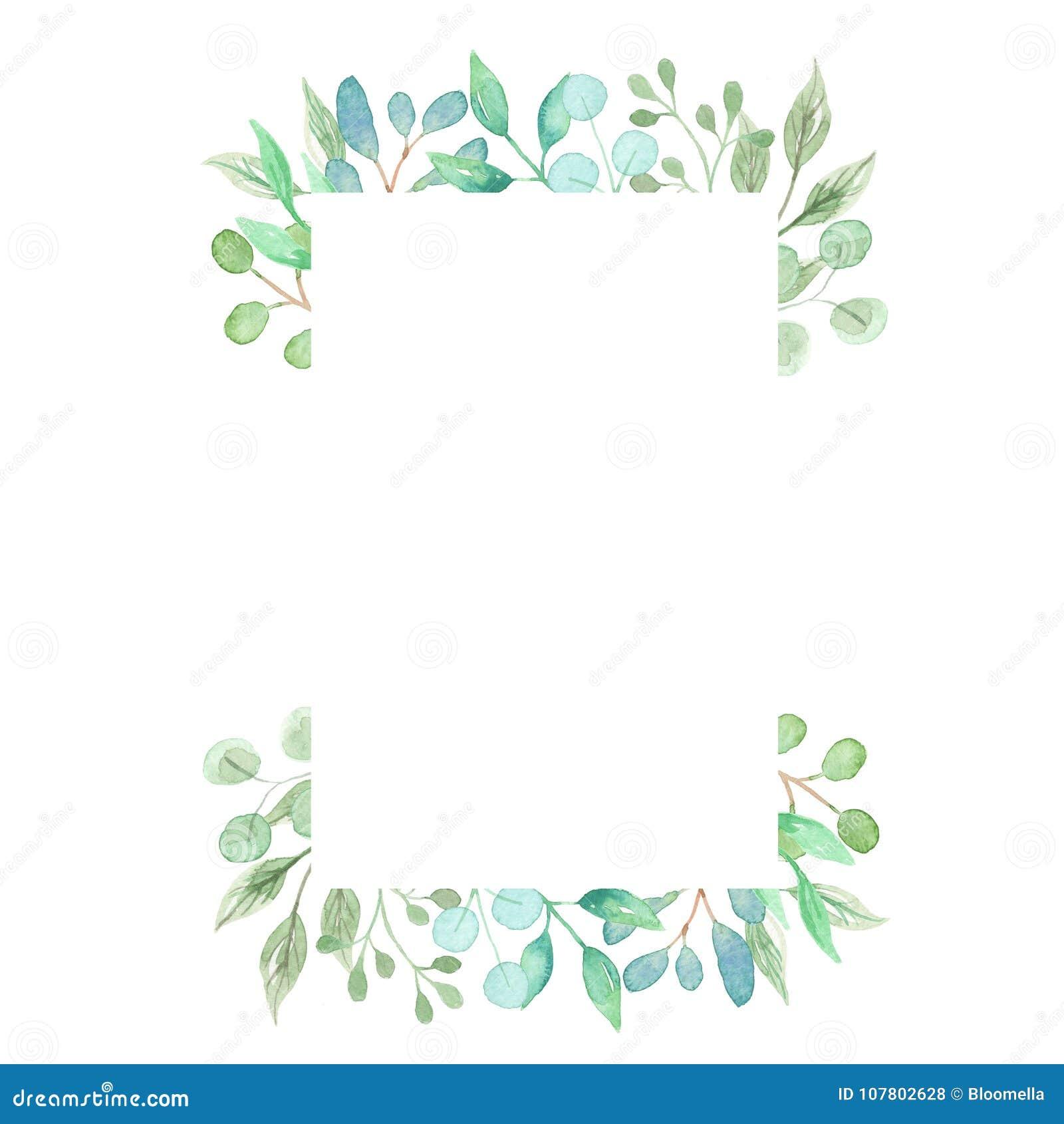 水彩长方形绿色花圈框架离开婚礼春天夏天诗歌选橄榄