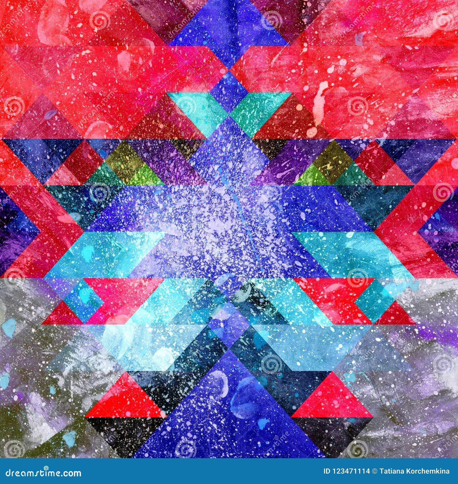 水彩颜色摘要几何背景