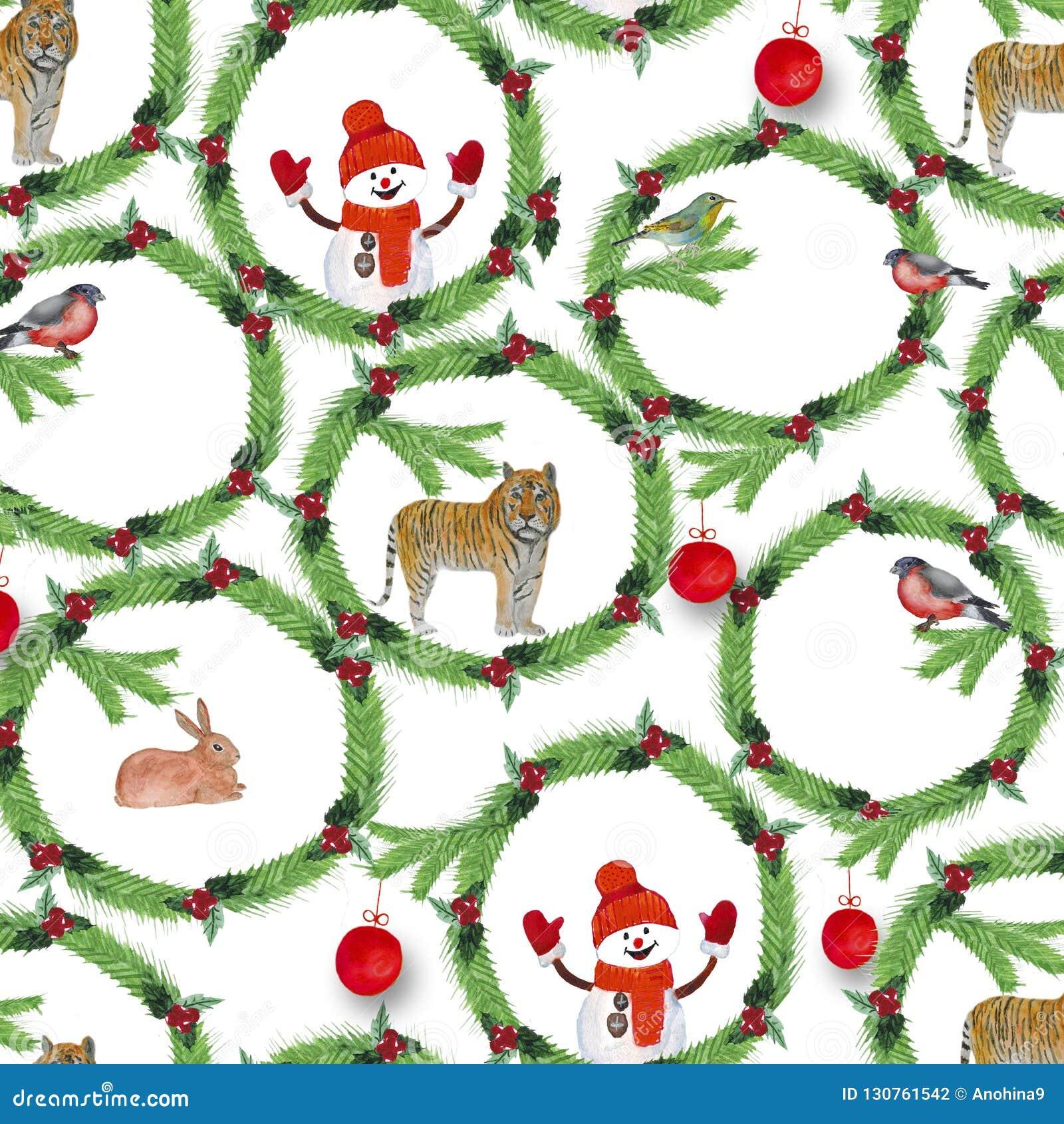 水彩 冷杉分支、红色莓果、鸟、老虎、兔子和雪人圣诞节花圈