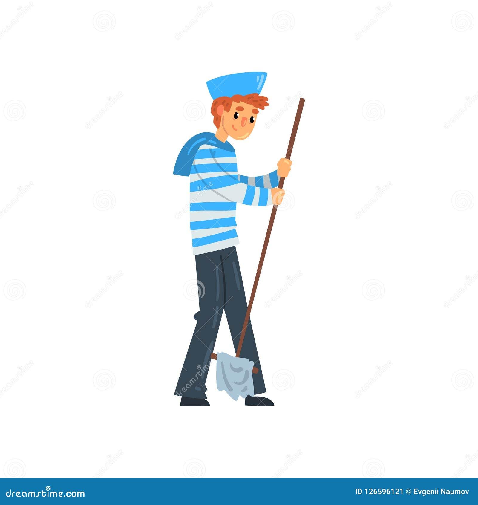 水手站立与拖把的,在镶边汗衫的海员字符和盖帽导航在白色背景的例证
