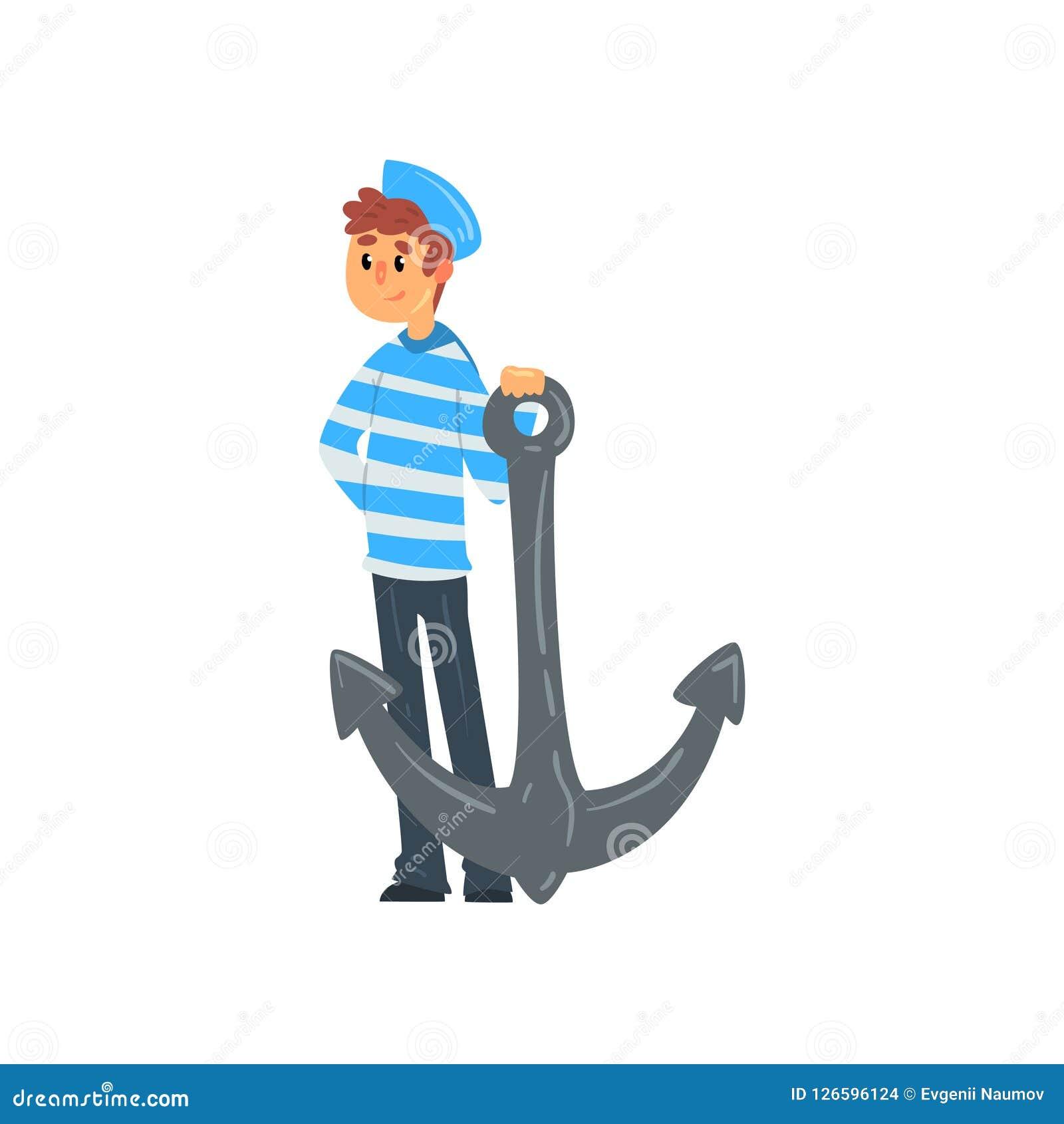 水手站立与船锚的,在镶边汗衫的海员字符和盖帽导航在白色背景的例证