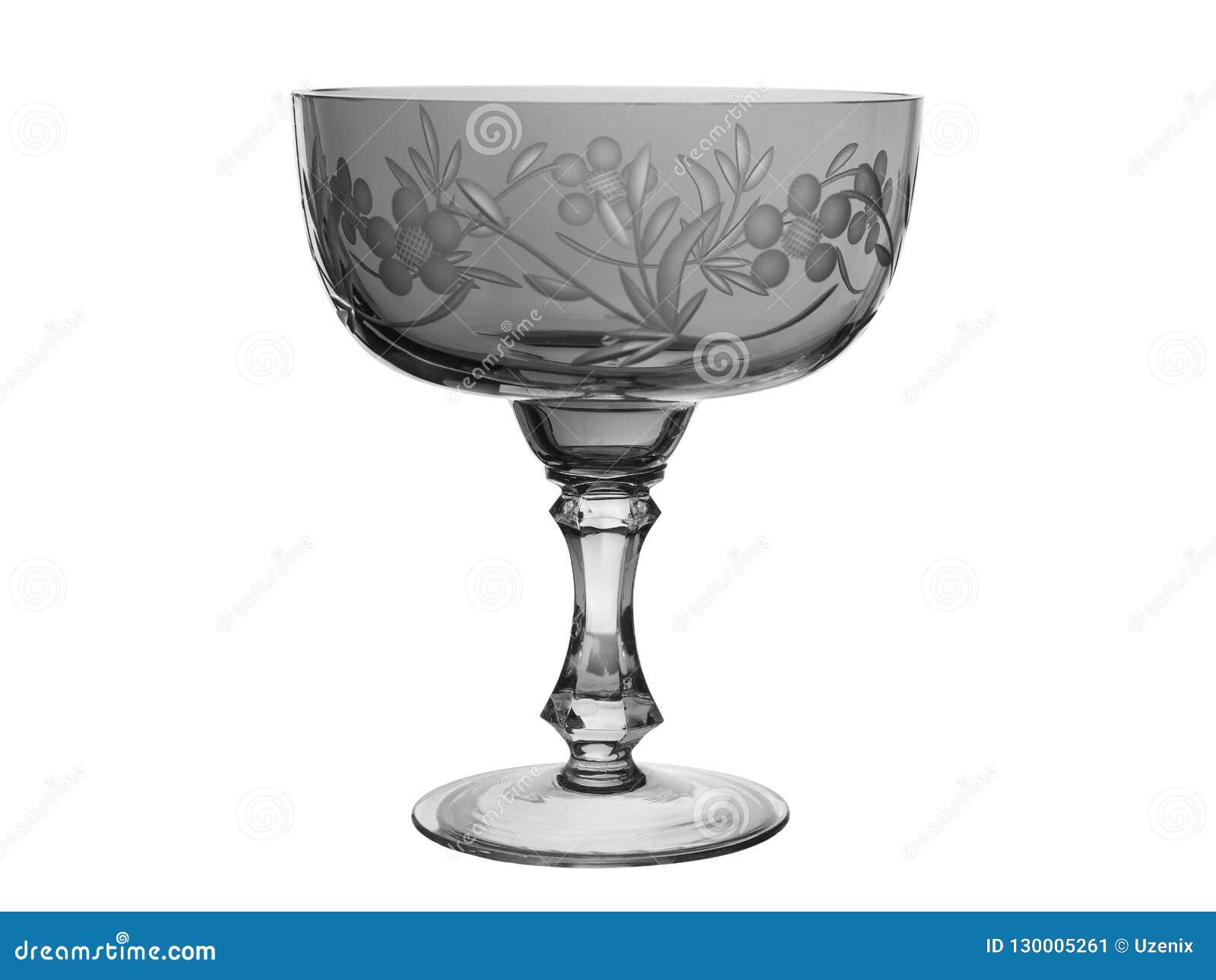 水晶花瓶有图画的一个碗在白色背景