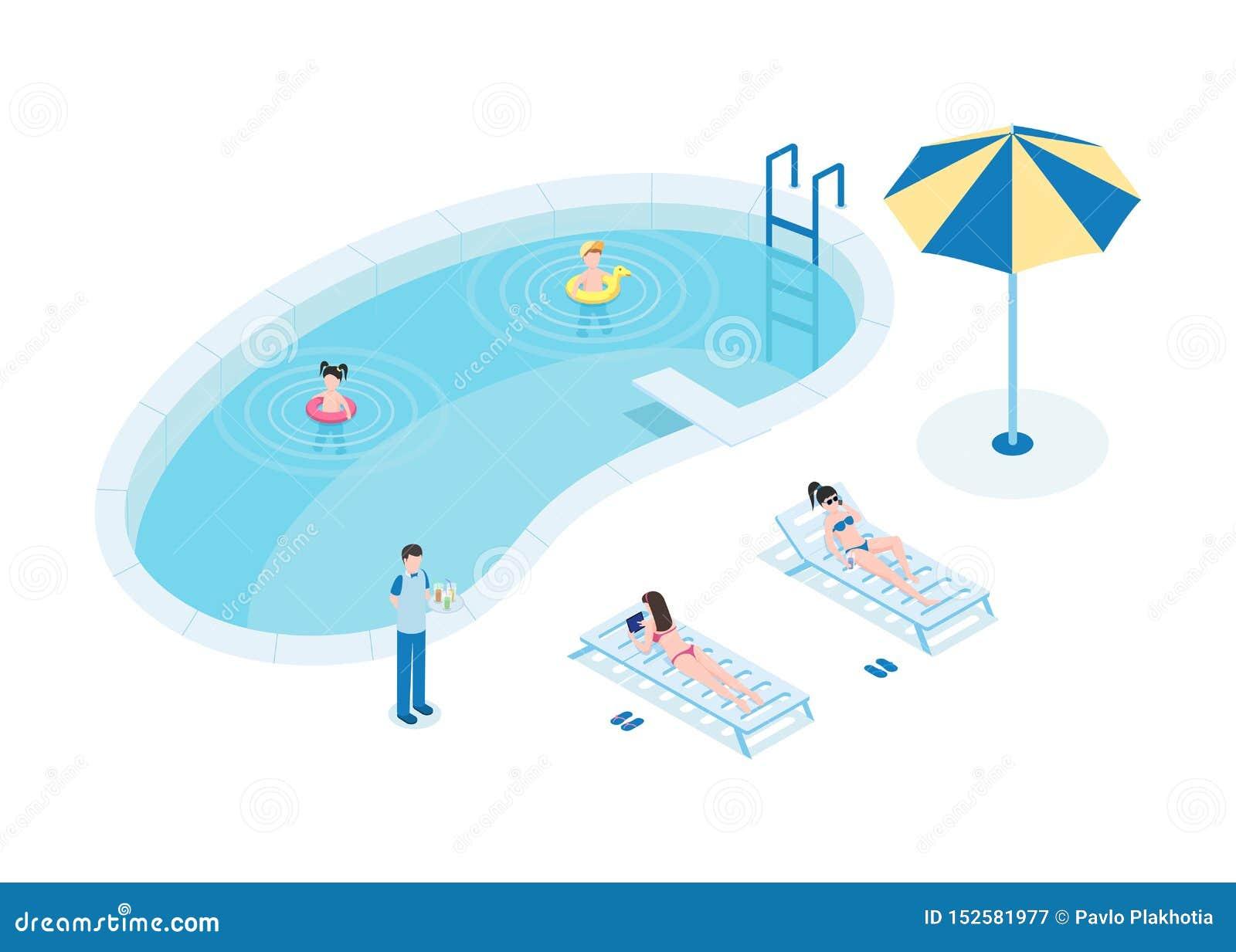 水池等量传染媒介例证的游人 有孩子和侍者3D卡通人物的母亲 年轻女人