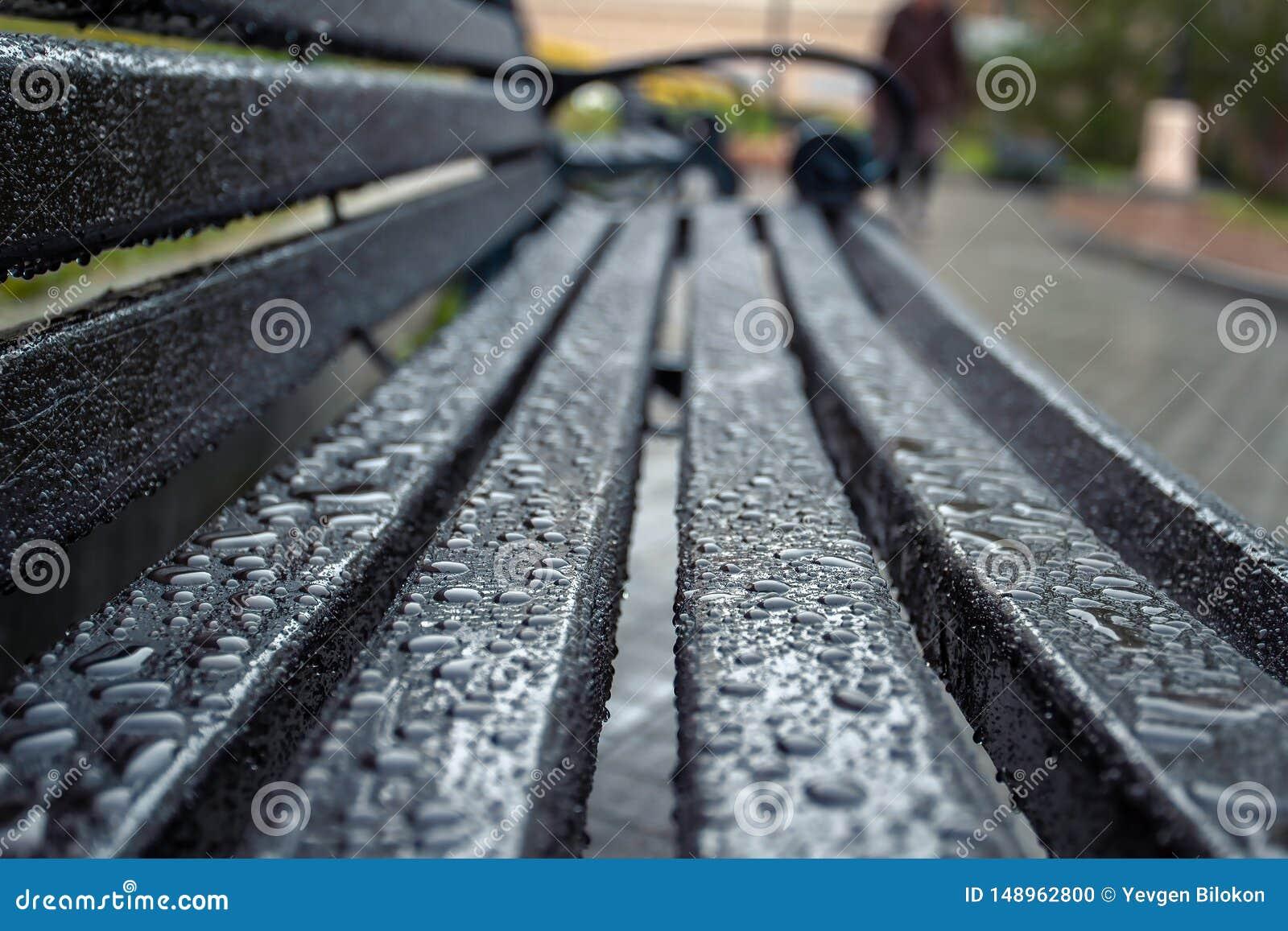 水滴在雨以后的表面上