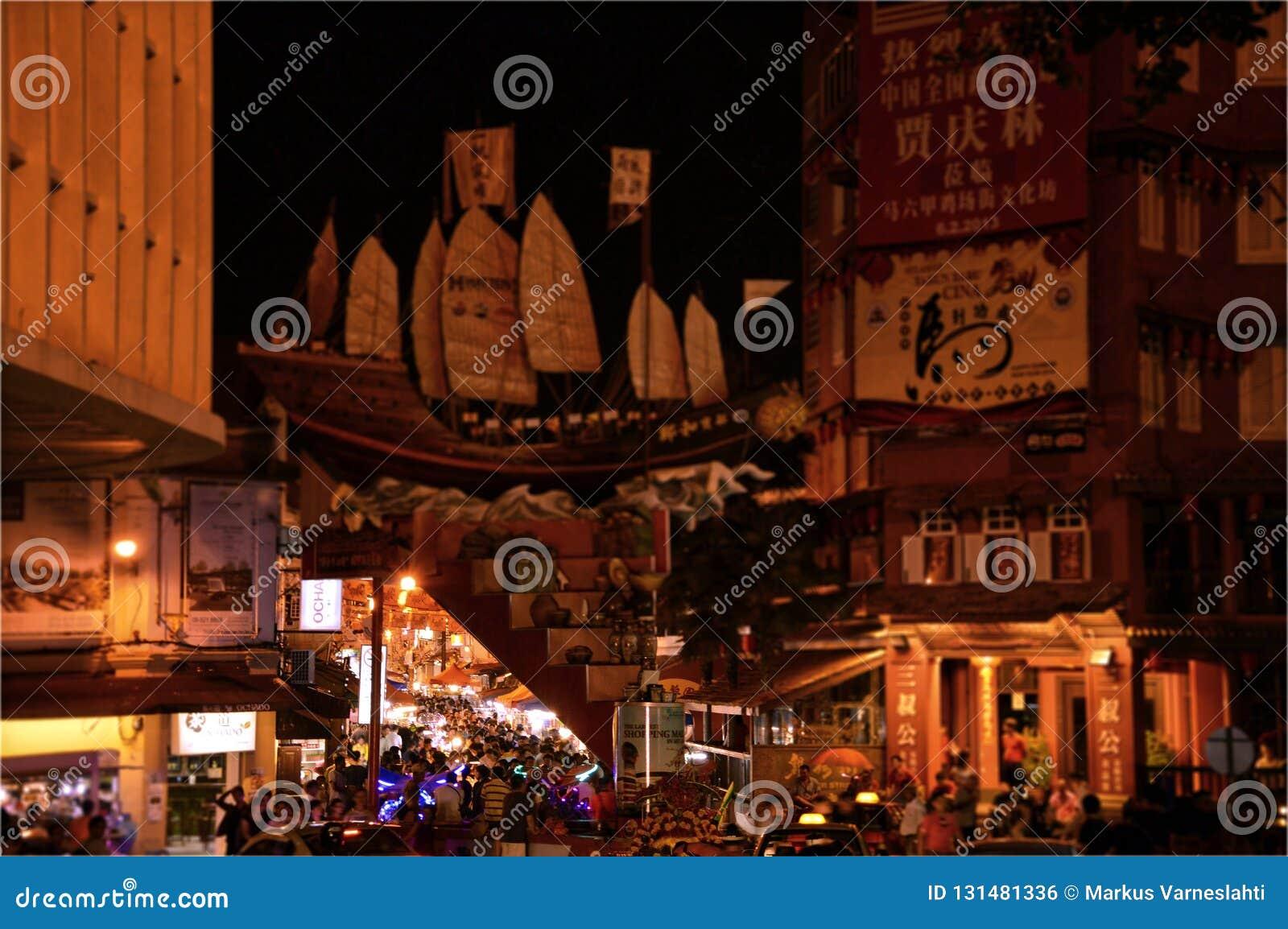 永克尔步行夜市在马六甲,马来西亚