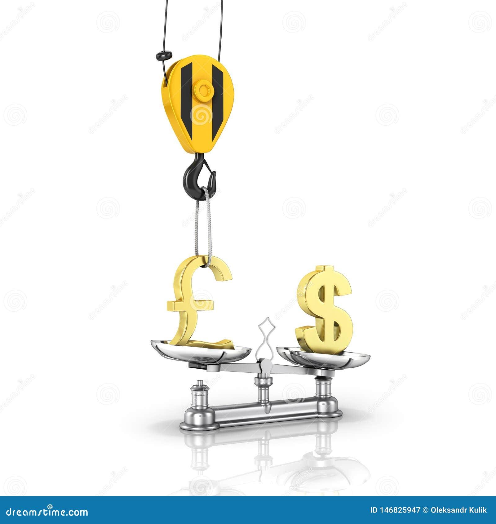 汇率支持美元的概念对磅起重机脱掉磅并且降低在白色背景的美元与