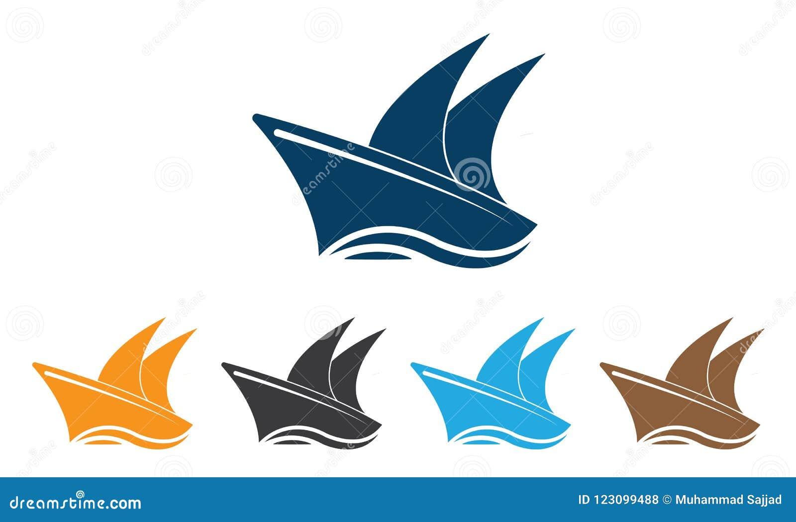 汇集船商标模板-帆船商标模板-海洋海洋船传染媒介