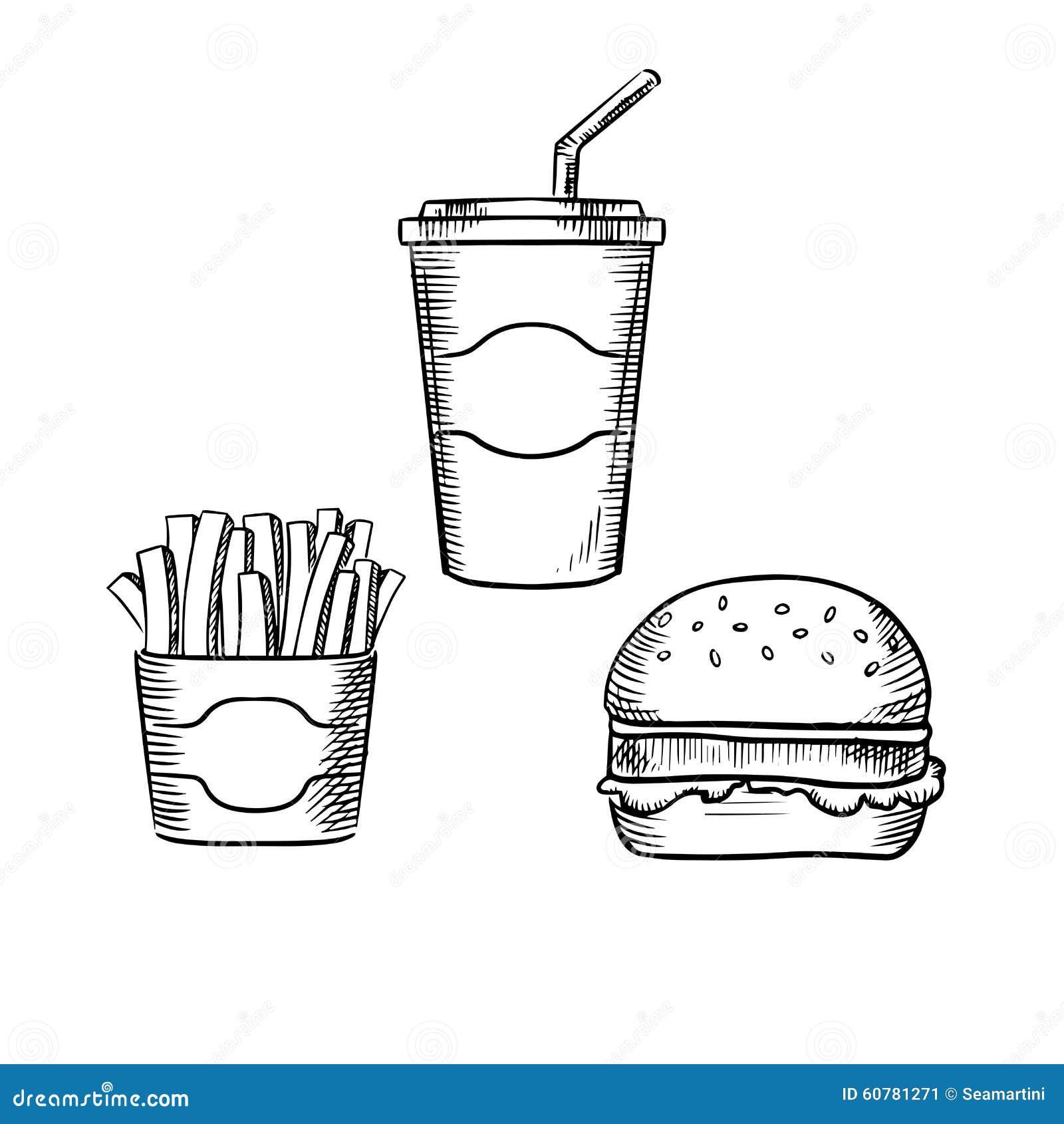 快餐汉堡包用牛肉小馅饼和莴苣生叶,箱炸薯条和甜有吸管的苏打纸杯 一图片