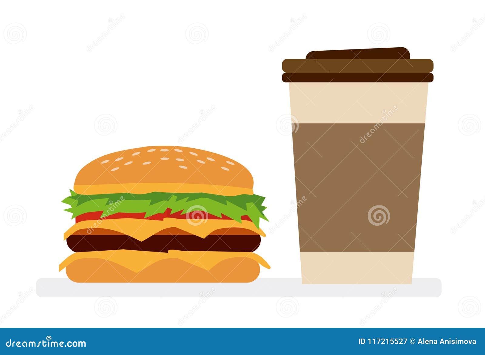 汉堡包和咖啡 快餐概念 奶油被装载的饼干 传染媒介动画片平的设计例证