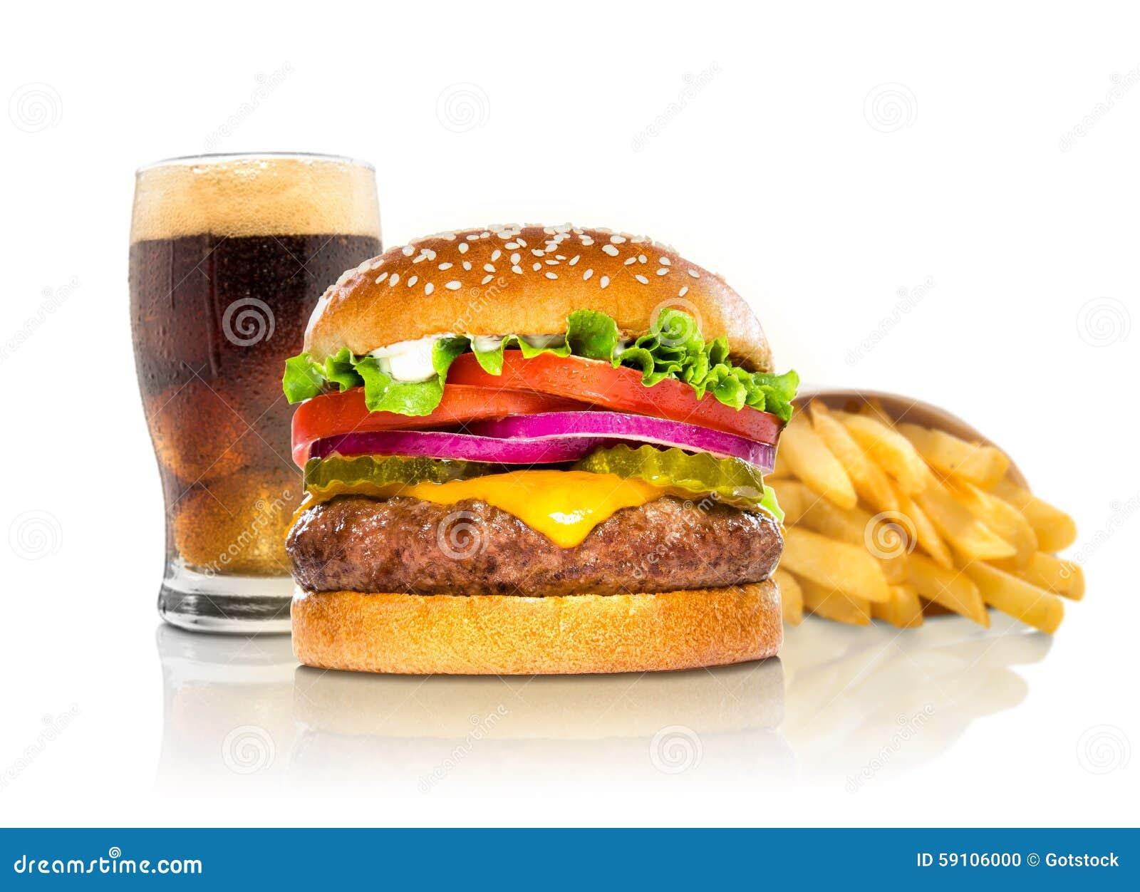 汉堡包油炸物和焦炭苏打水乳酪汉堡组合豪华快餐在白色