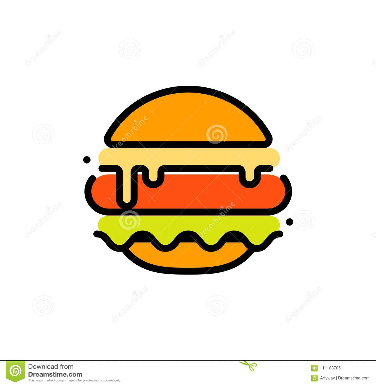 汉堡抽象概述传染媒介商标模板,快餐隔绝了线艺术被传统化的象,在白色的异常的例证