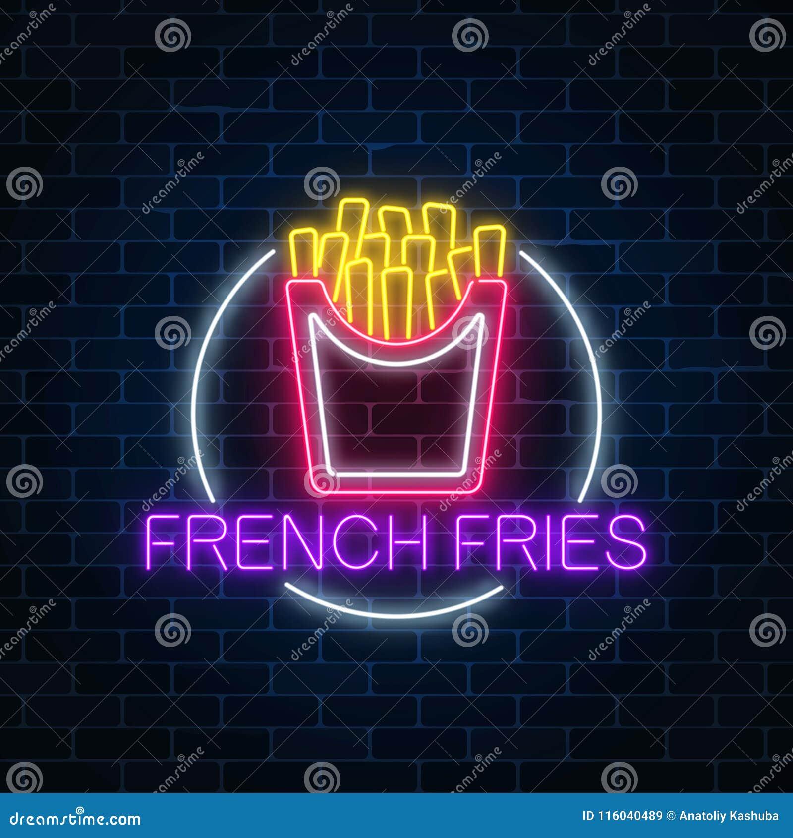 汉堡的霓虹发光的标志在圈子框架的在黑暗的砖墙背景 快餐轻的广告牌标志