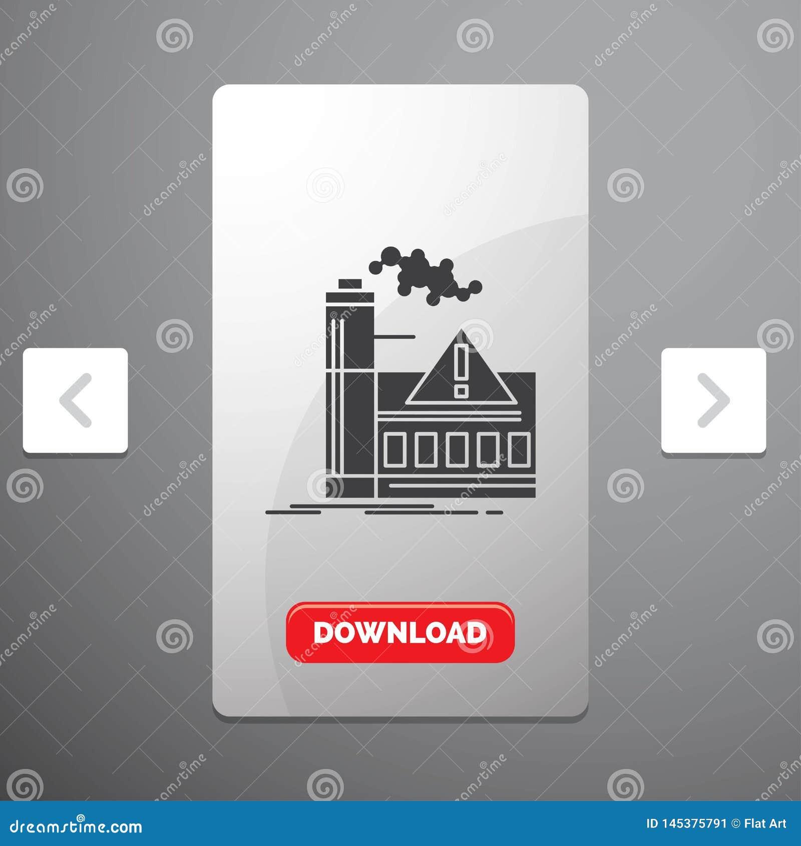 污染、工厂、空气、戒备、产业纵的沟纹象在喧闹的酒宴页码滑子设计&红色下载按钮