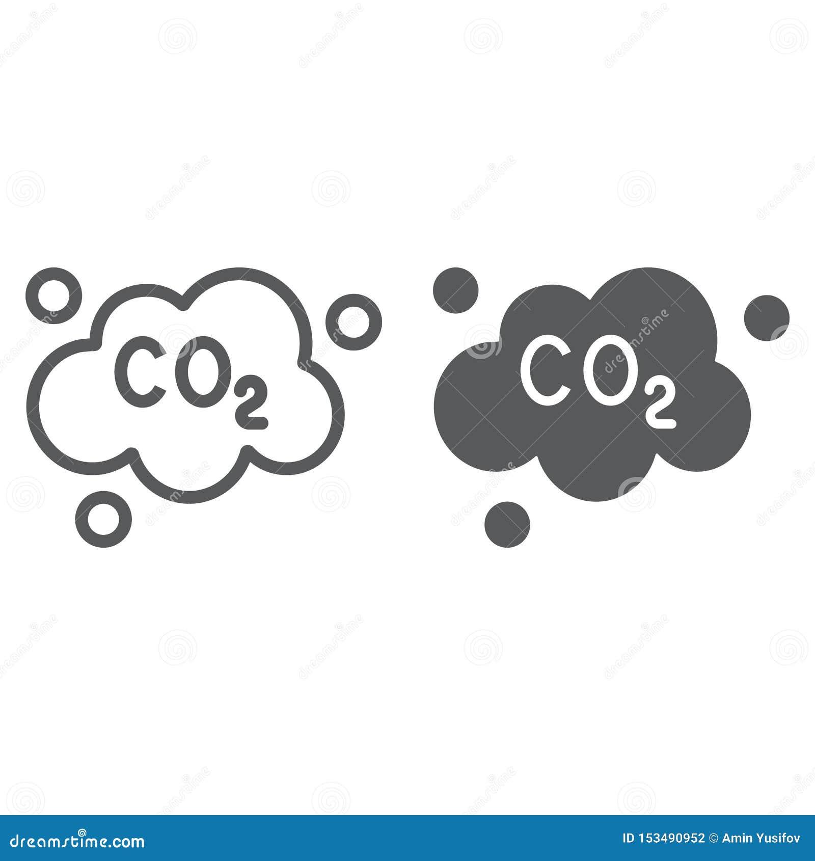 污染二氧化碳线和纵的沟纹象、生态和二氧化物,二氧化碳排放覆盖标志,向量图形,在a的一个线性样式