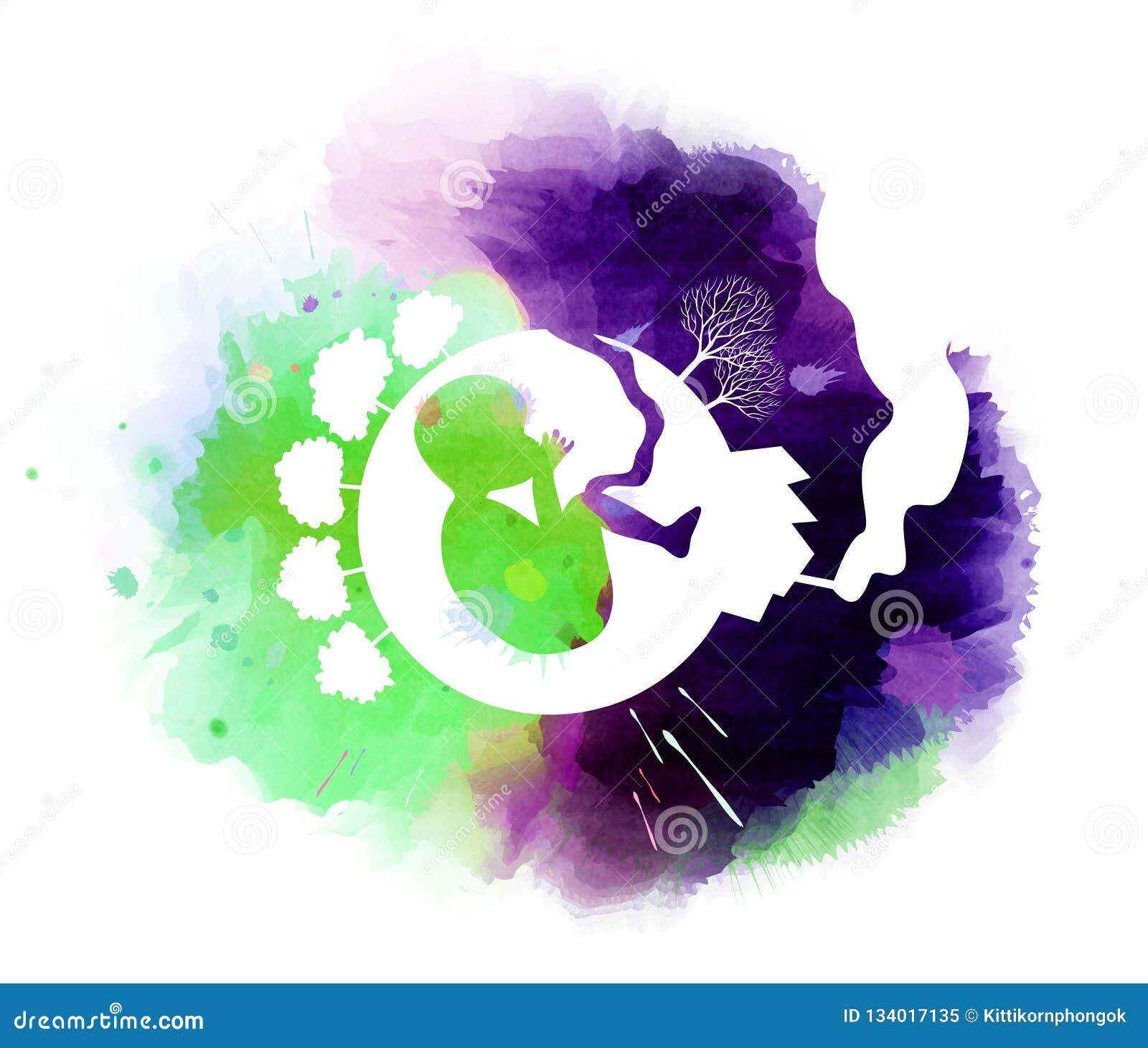 污染和保存与婴孩的地球概念在剪影里面