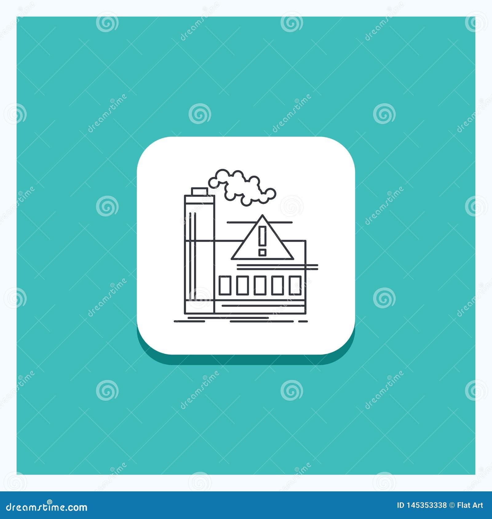 污染的圆的按钮,工厂,空气,戒备,产业线象绿松石背景