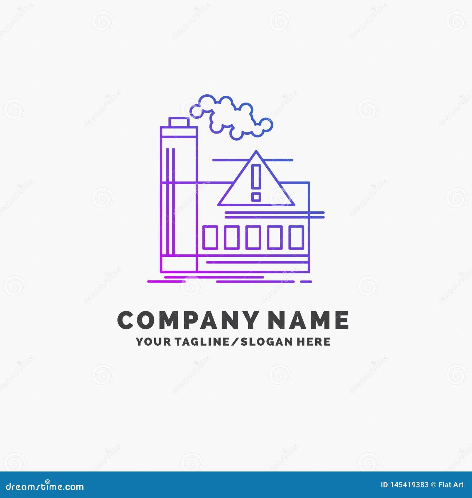 污染,工厂,空气,戒备,产业紫色企业商标模板 r