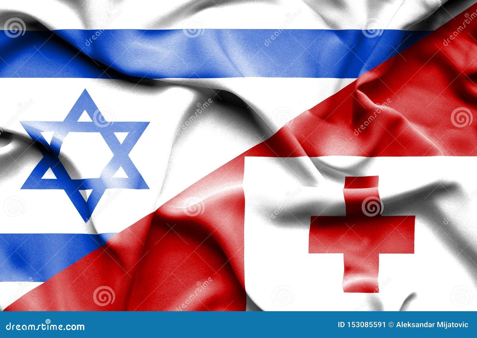汤加和以色列的挥动的旗子