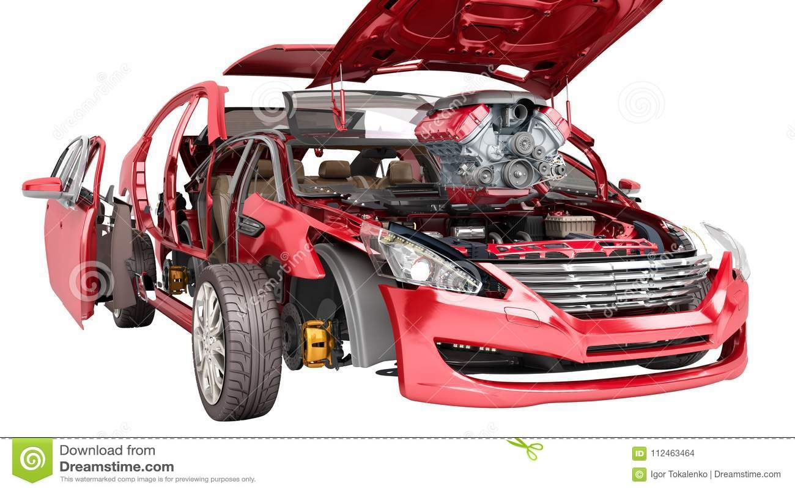汽车修理红色汽车的工作细节的现代概念在w的