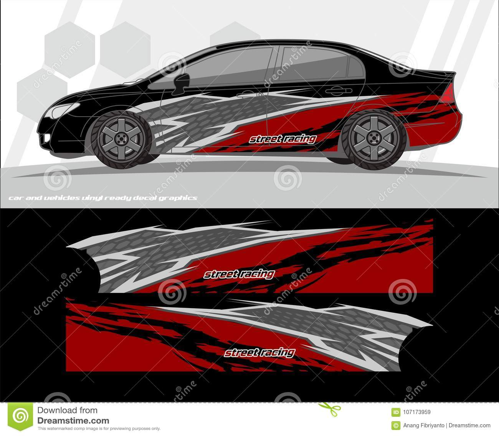 汽车和车标签图表成套工具设计 准备为乙烯基贴纸打印和切开