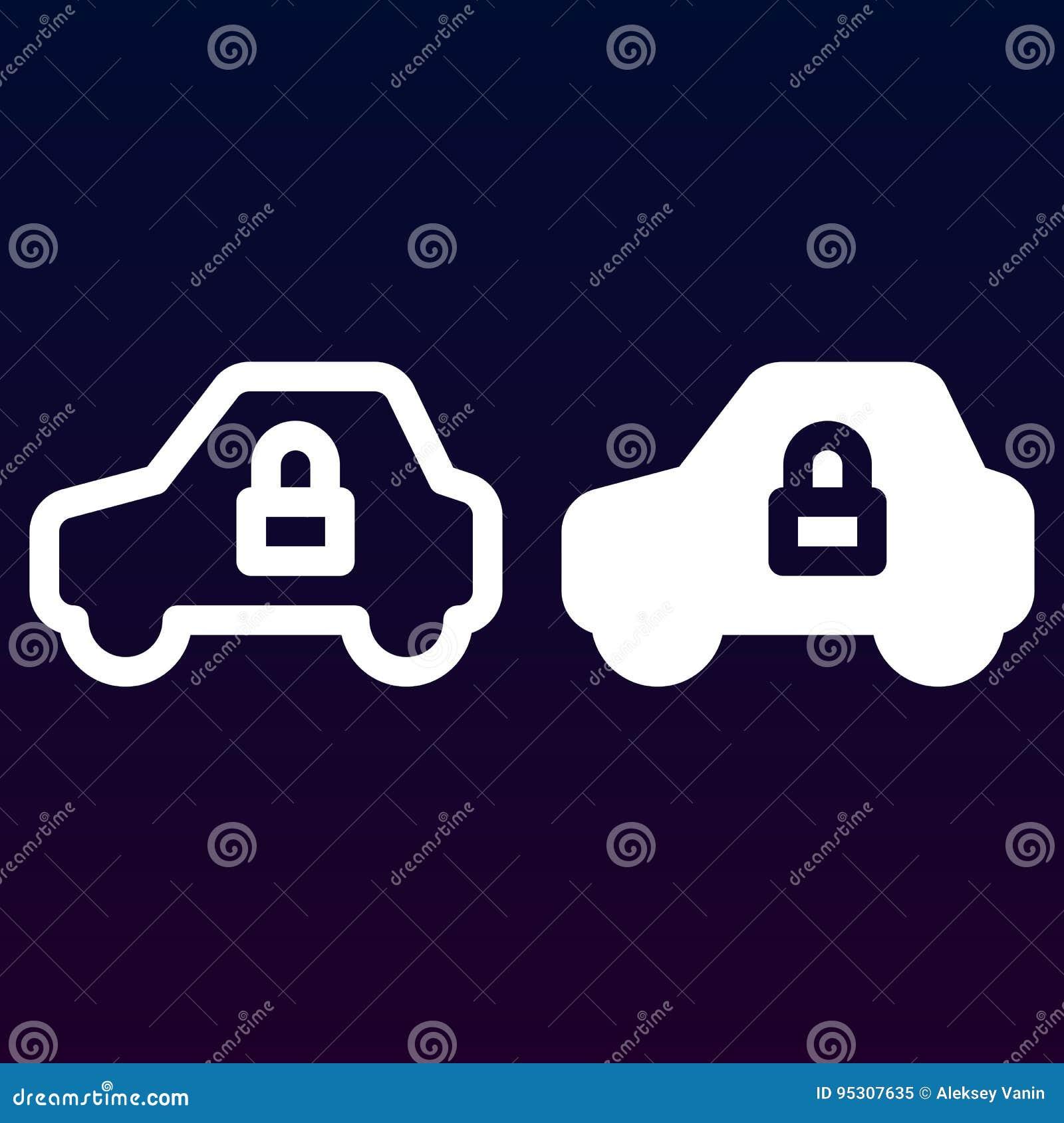 汽车安全、在白色和坚实象、概述和被填装的传染媒介标志,线性和充分的图表隔绝的车和锁线