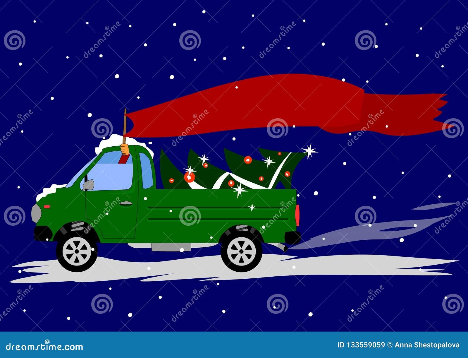 汽车提取,在树背后和司机拿着旗子