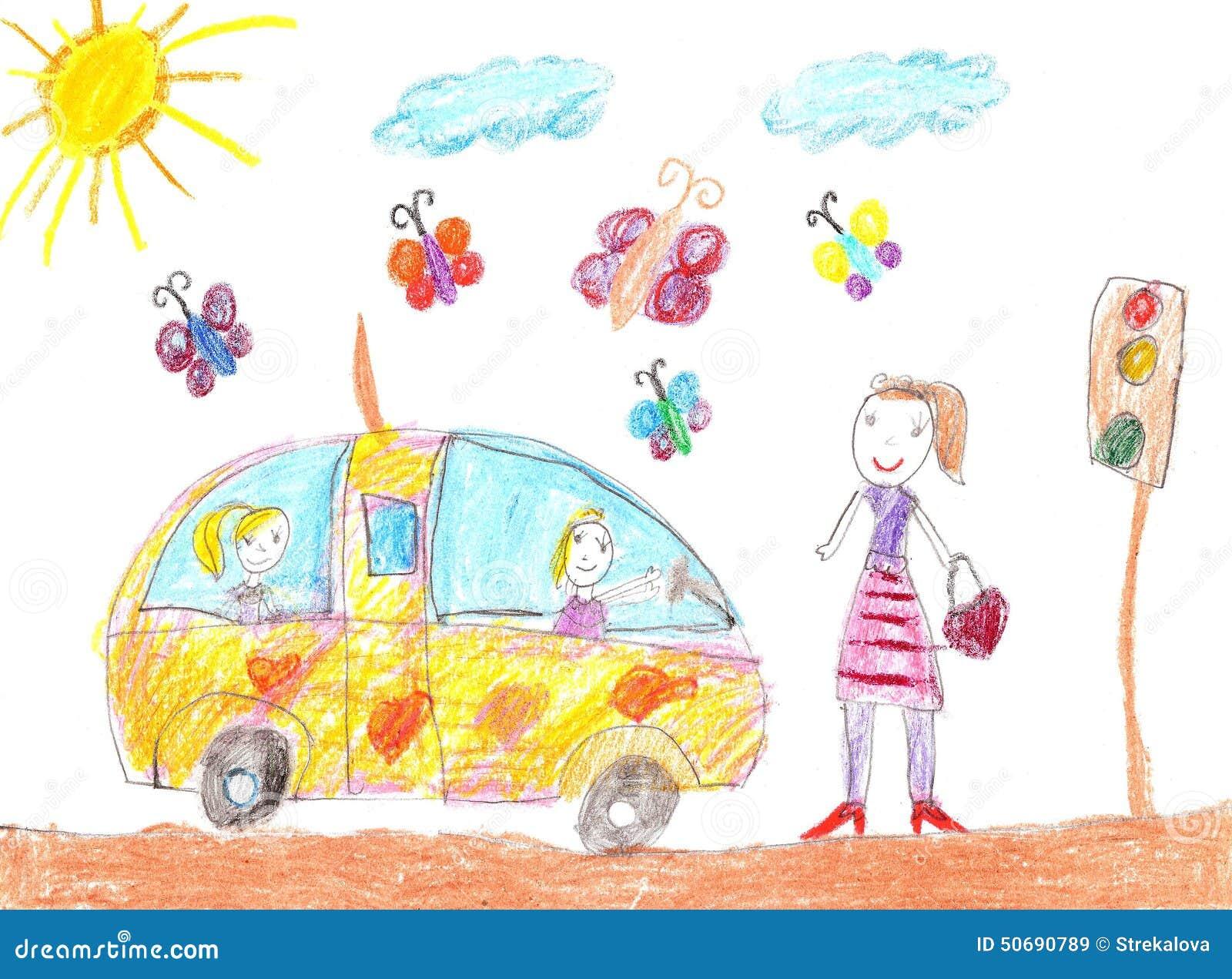 Download 画汽车旅行的孩子 库存例证. 插画 包括有 幸福, 母亲, 人们, 现有量, 图画, 系列, 重婚, 室外 - 50690789