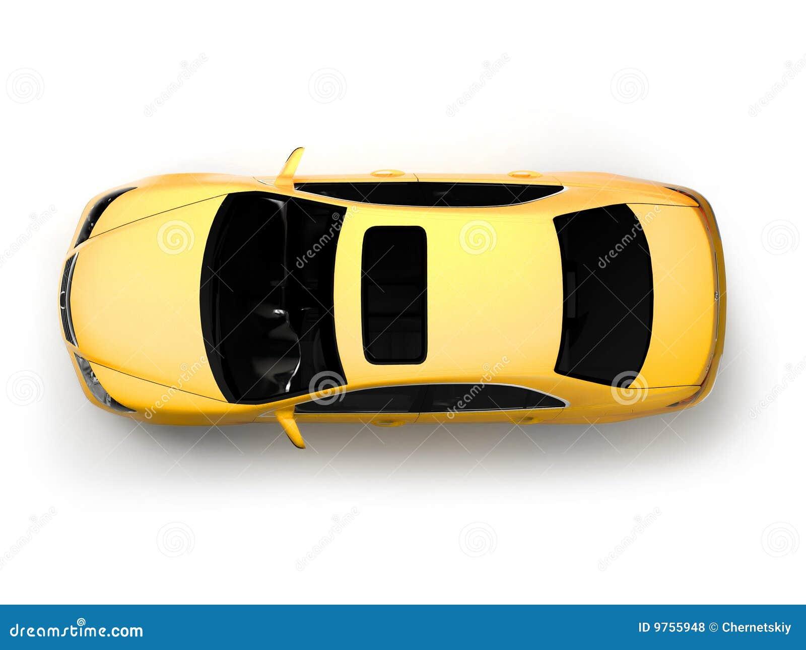 汽车查出的现代顶视图黄色