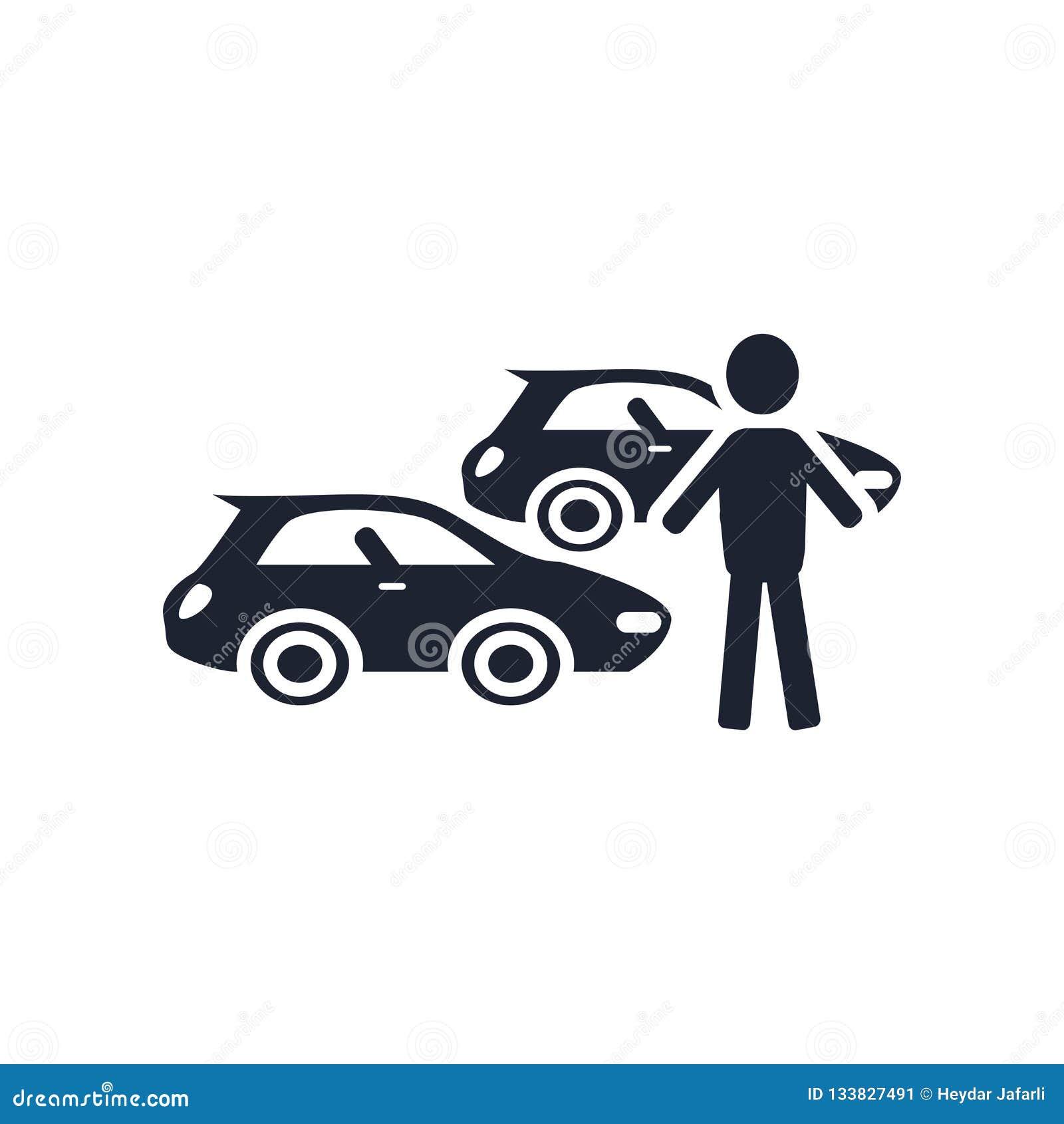 汽车汇集象在白色bac和标志隔绝的传染媒介标志