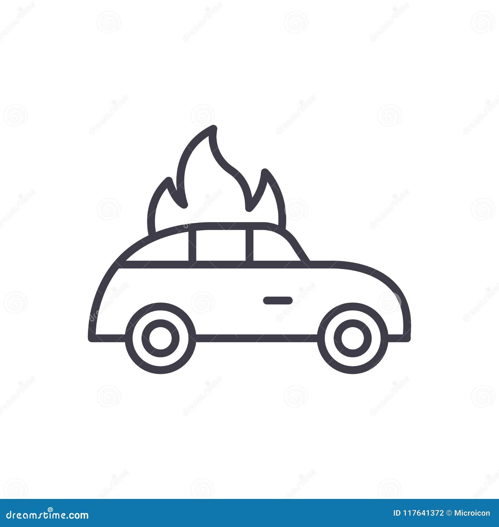 汽车火黑色象概念 汽车火平的传染媒介标志,标志,例证