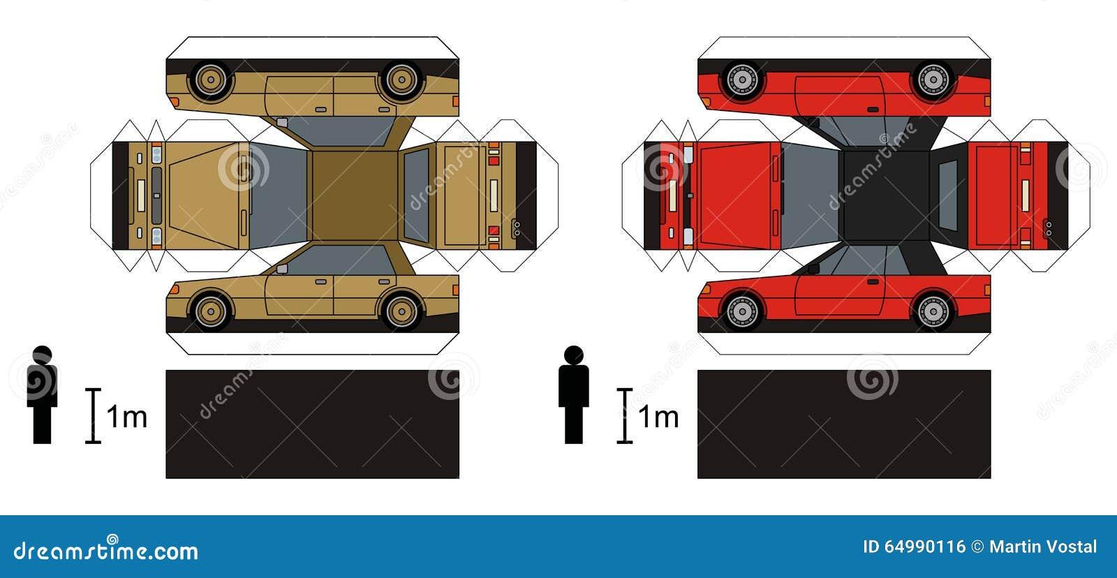 两辆汽车,任何实型,传染媒介例证纸模型.