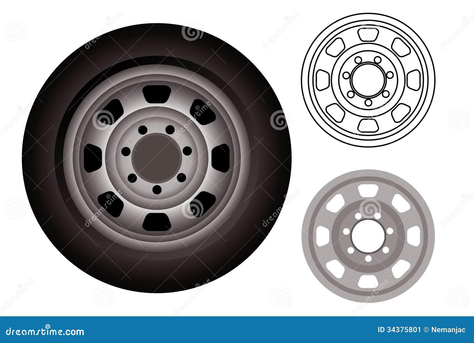 汽车轮子或轮胎,整个轮胎和外缘.