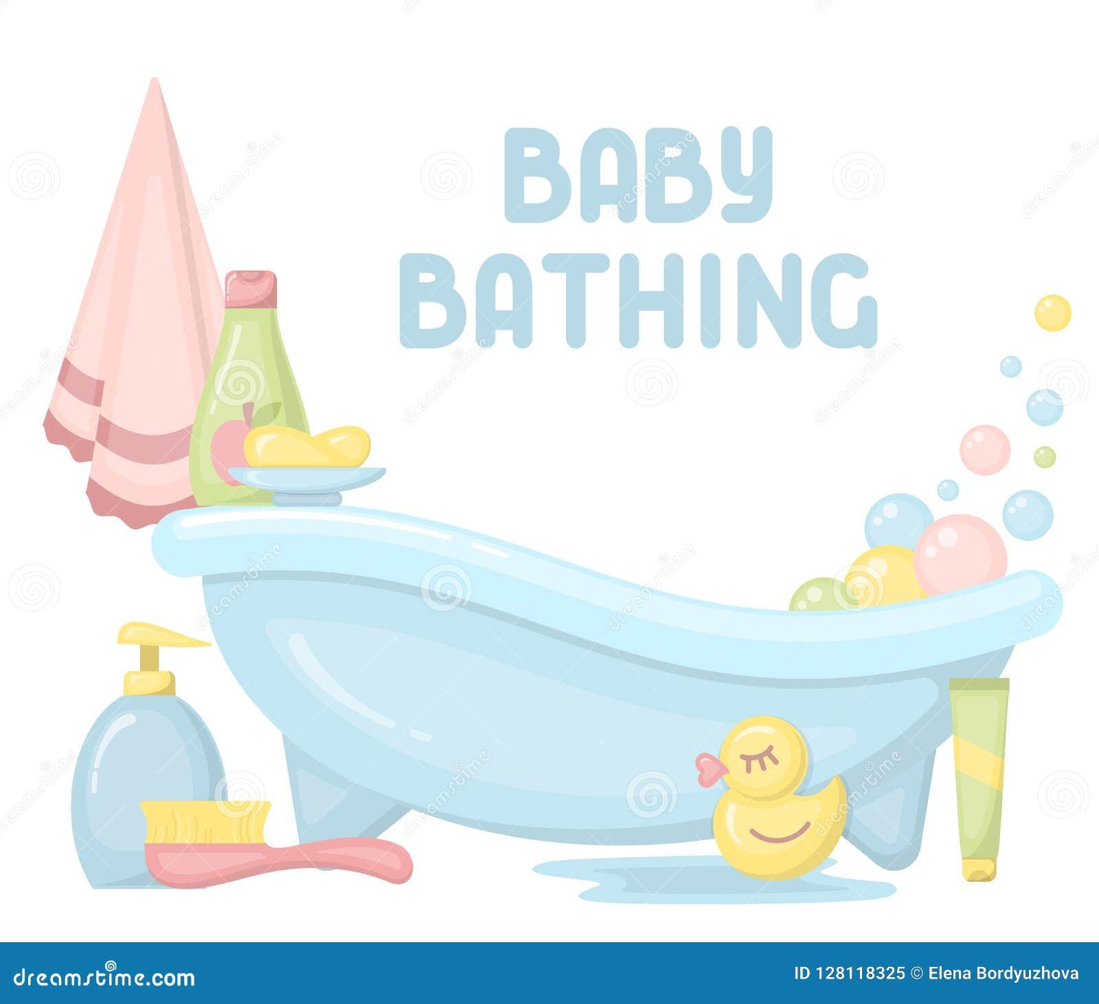沐浴卡片的婴孩