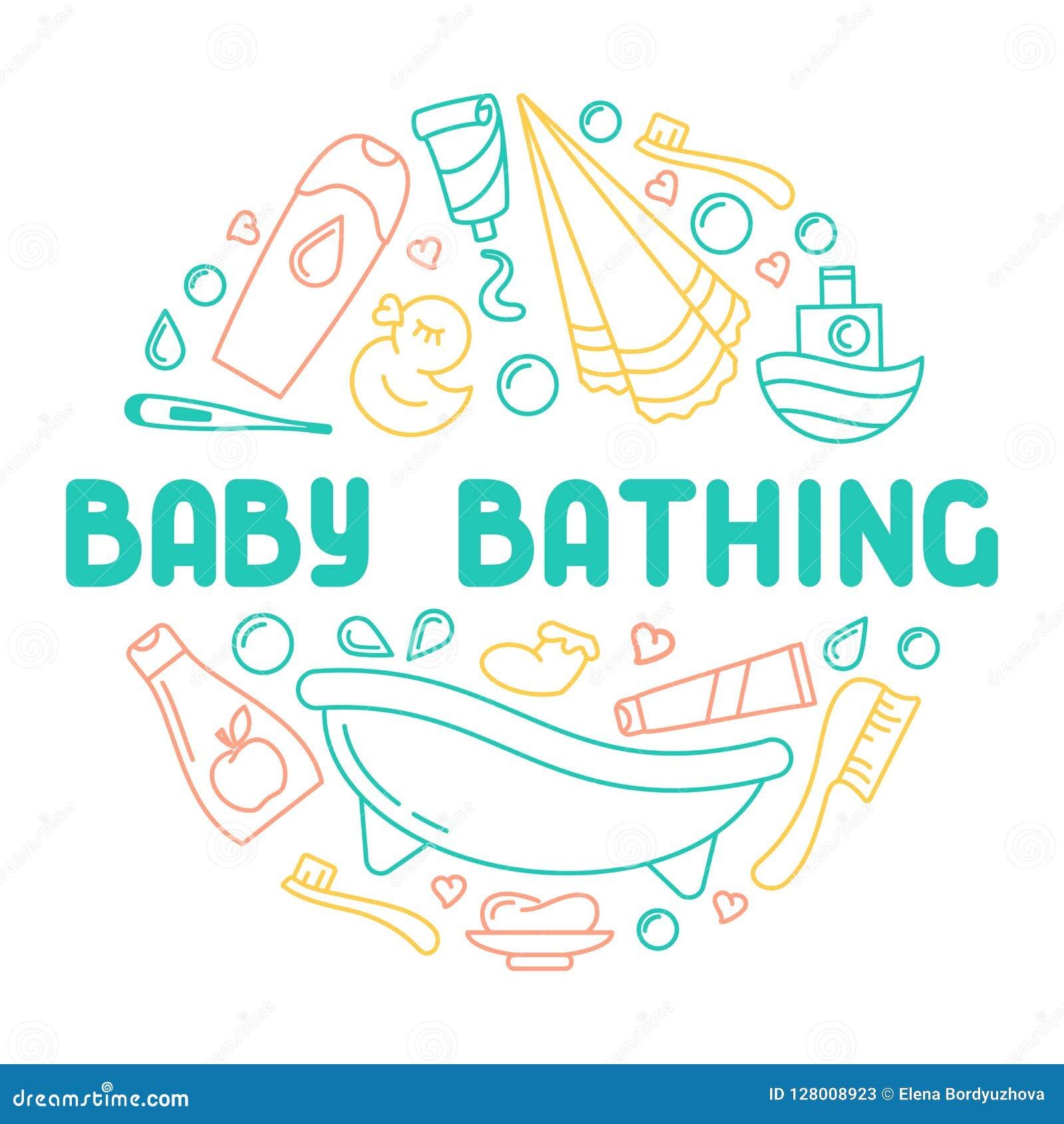 沐浴象汇集的婴孩