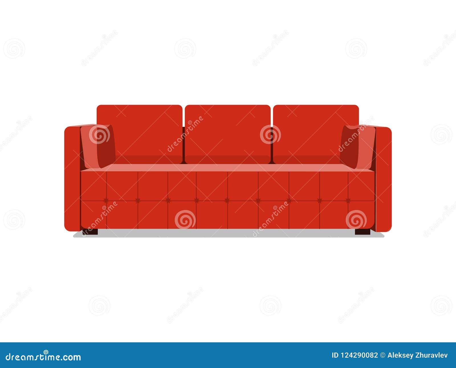 沙发和长沙发红色五颜六色的动画片例证传染媒介 在白色室内设计的舒适的休息室隔绝的