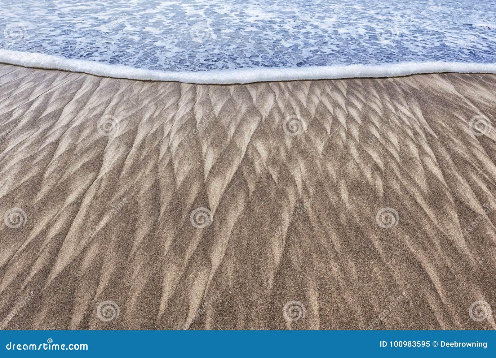 沙子样式和波浪在海滩