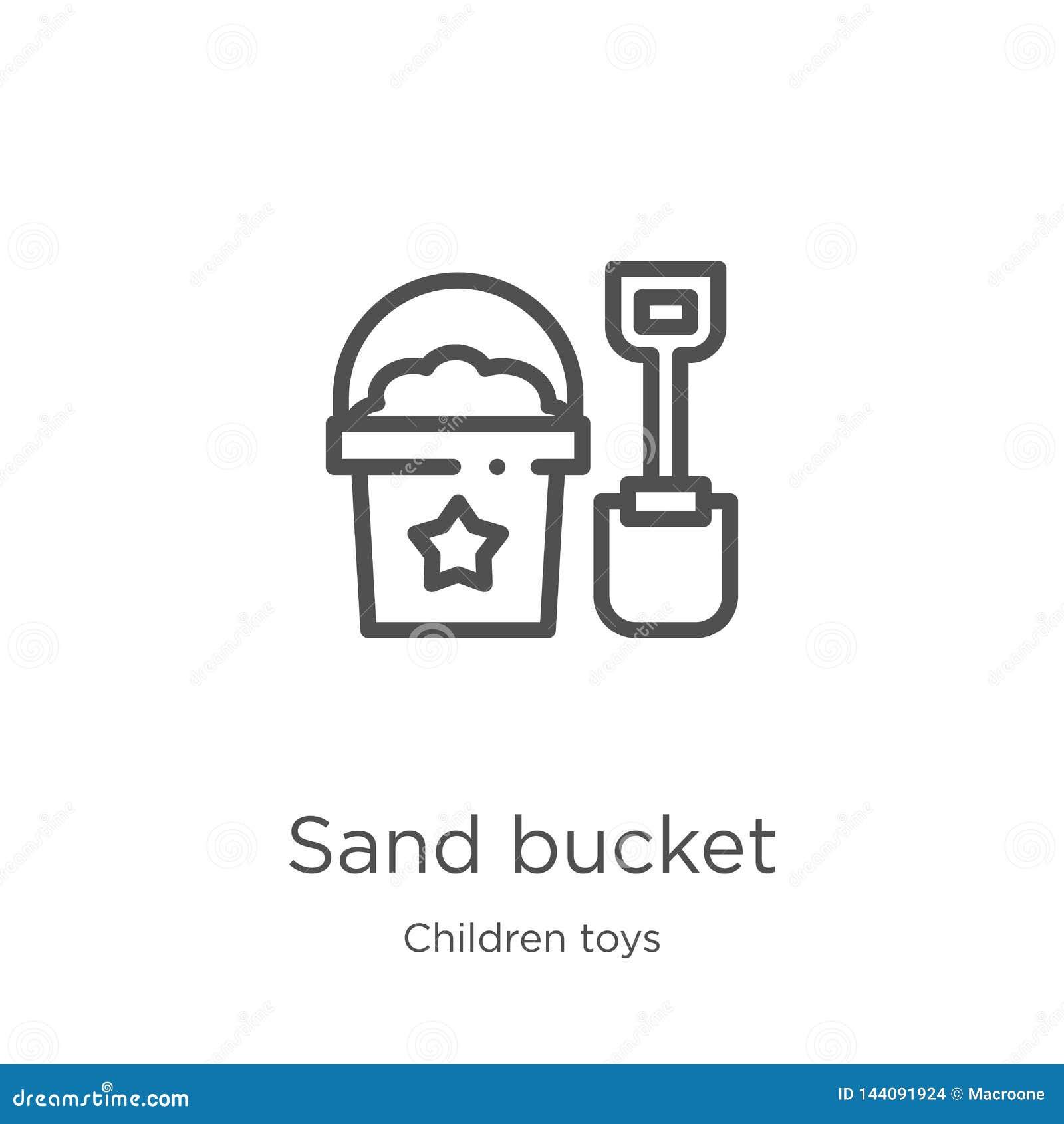 沙子桶从儿童玩具汇集的象传染媒介 稀薄的线沙子桶概述象传染媒介例证 概述,稀薄的线