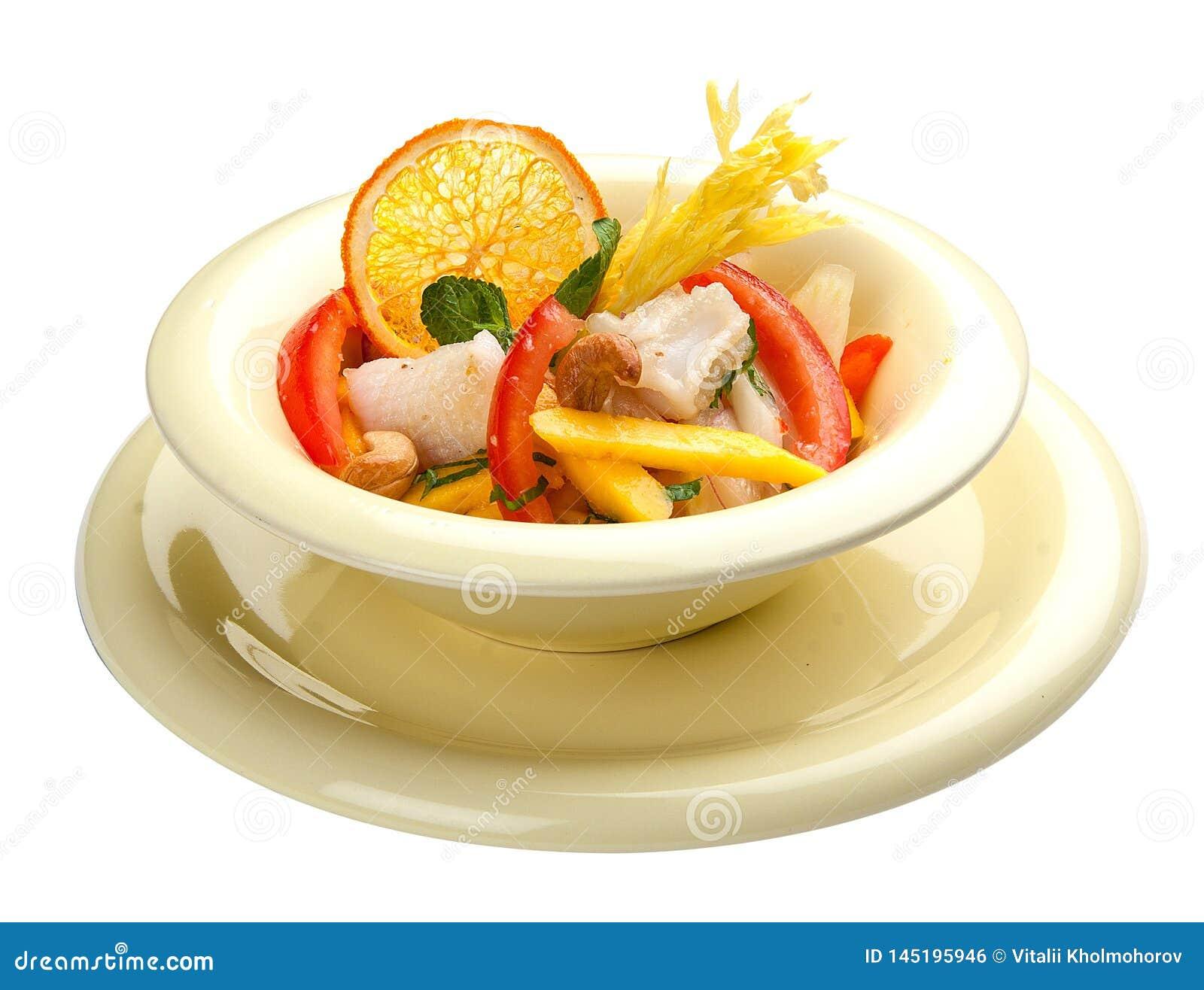沙拉用乌贼和芒果 r