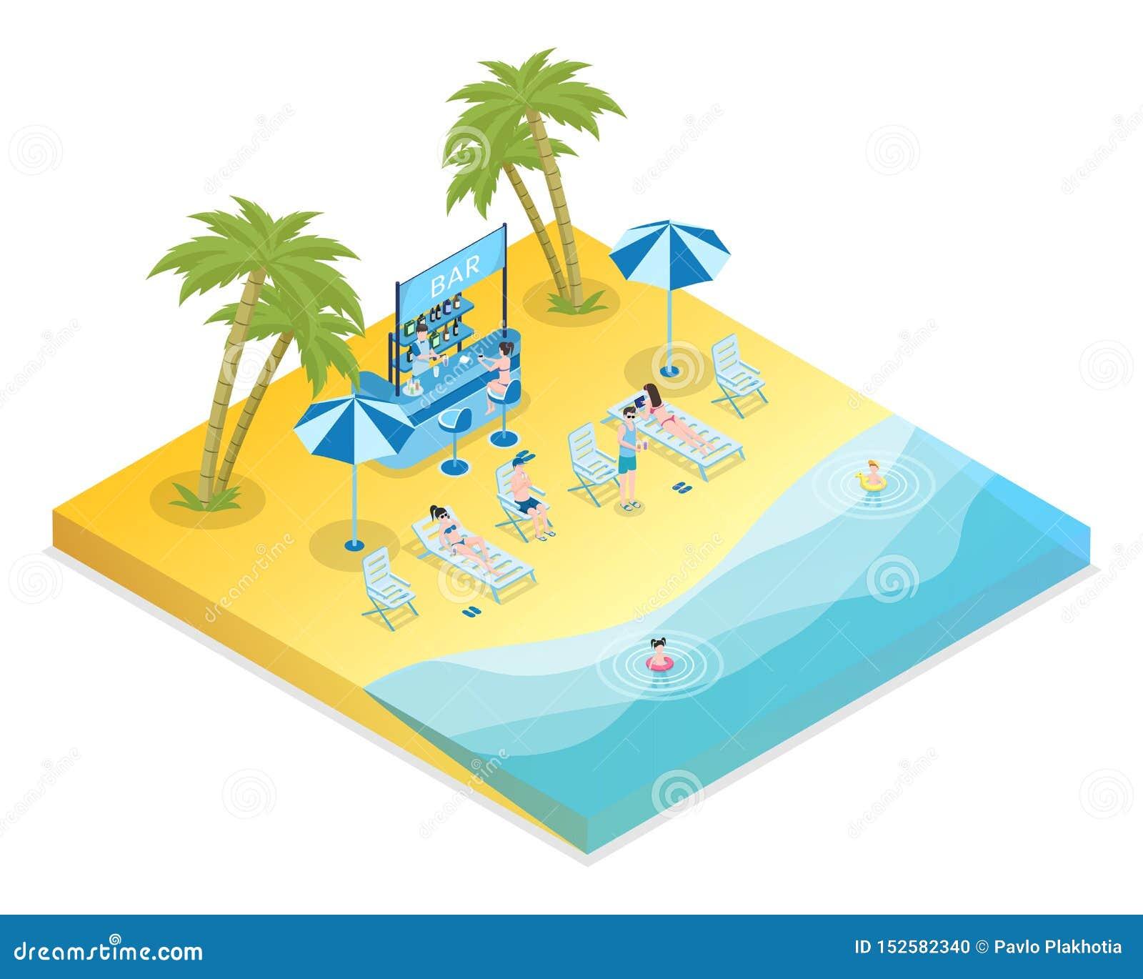 沙滩休闲等量传染媒介例证 男性和女性游人有孩子和侍酒者3D动画片的