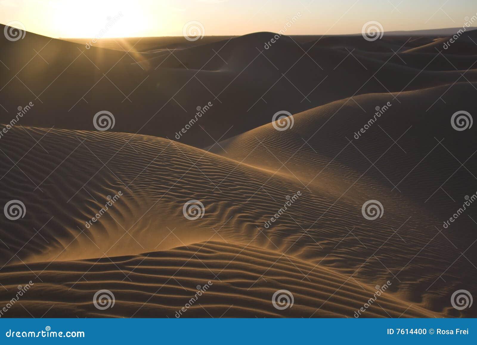 沙漠沙丘铺沙日落