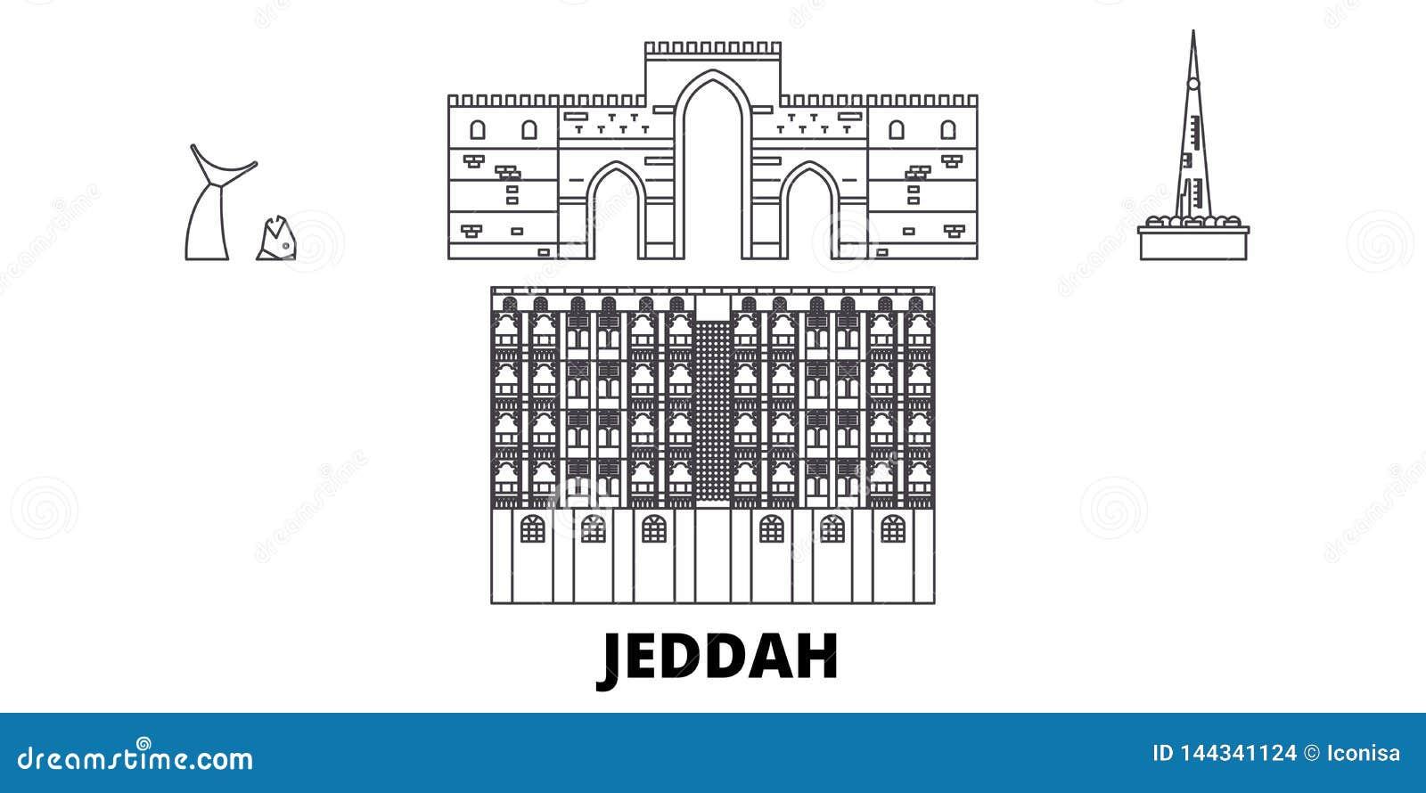 沙特阿拉伯,吉达线旅行地平线集合 沙特阿拉伯,吉达概述城市传染媒介例证,标志,旅行