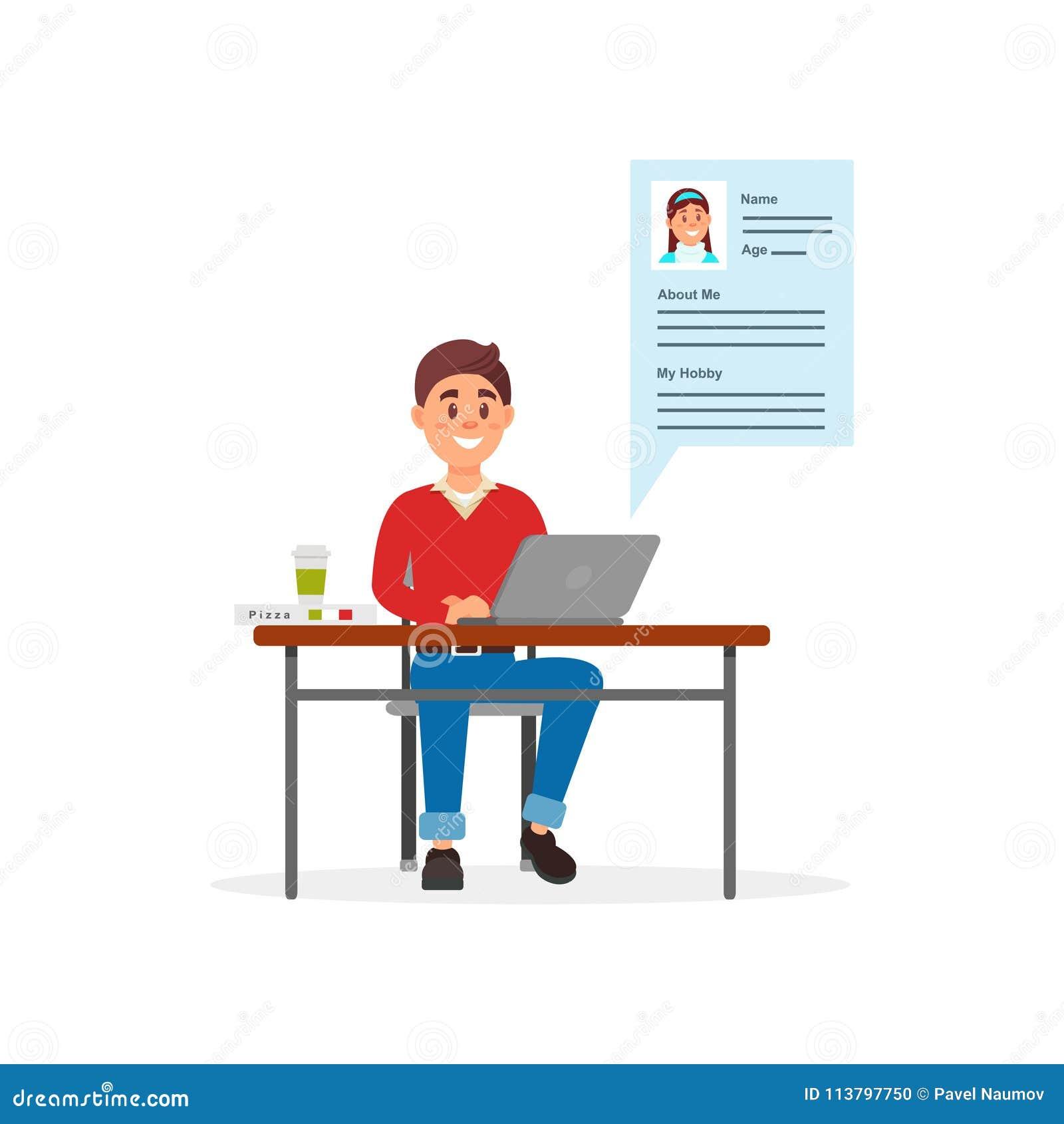 沟通在便携式计算机使用约会网站或app在白色的传染媒介例证上的年轻微笑的人