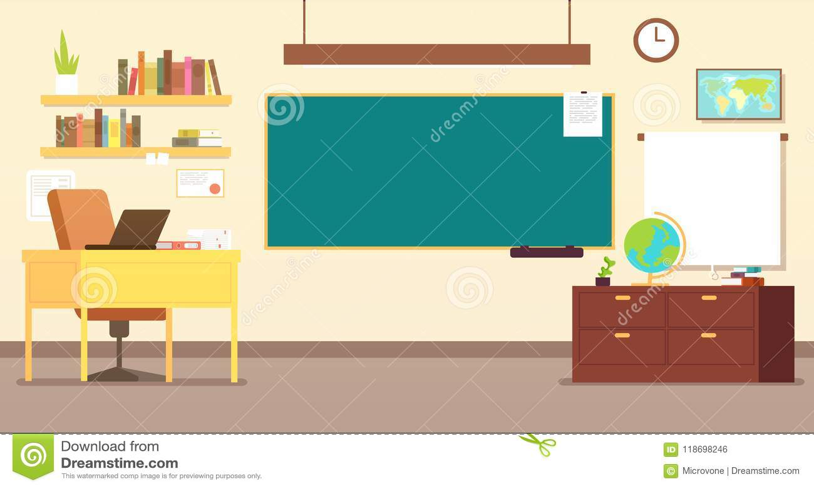 没人教育与老师书桌和黑板传染媒介例证的教室内部