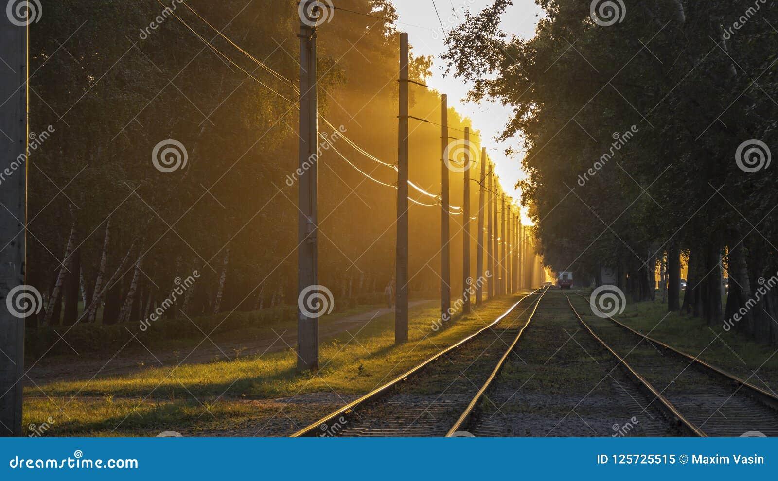 没有一列火车的铁轨在日落光芒