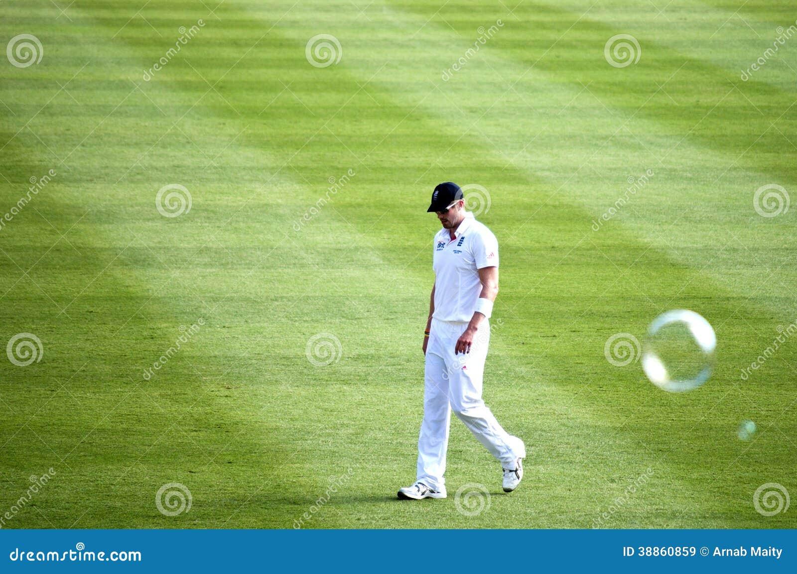 沮丧的英国玩板球者看得下来